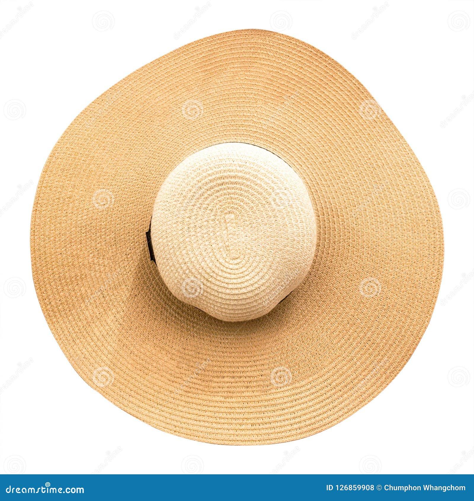 Καπέλο αχύρου με την κορδέλλα που απομονώνεται στο άσπρο υπόβαθρο Τοπ άποψη των καπέλων μόδας στο θερινό ύφος Ψαλιδίζοντας μονοπά