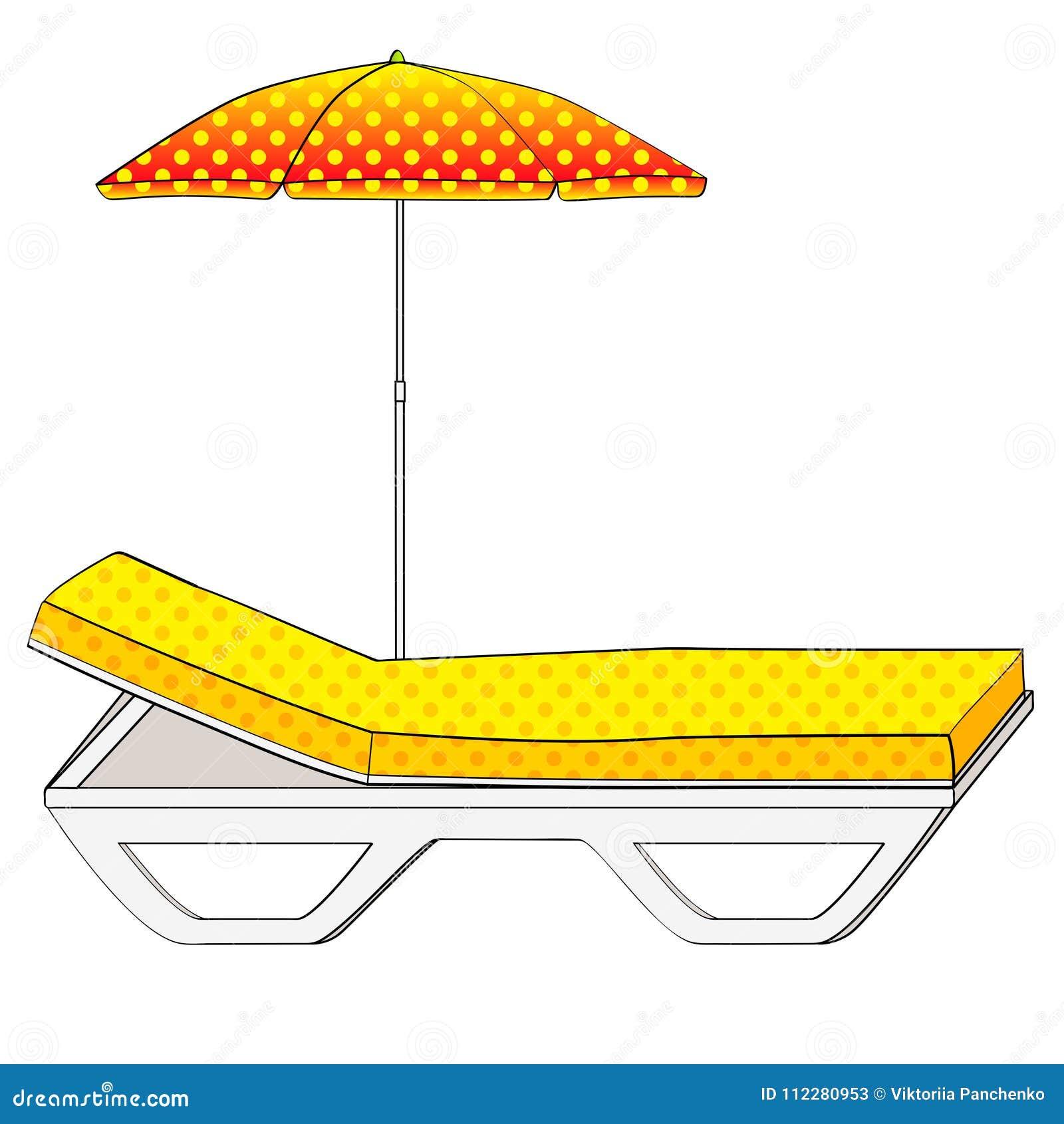 Καρέκλα γεφυρών κάτω από μια ομπρέλα στην αμμώδη παραλία Αντικείμενο σε μια άσπρη ανασκόπηση αναδρομικός τρύγος ύφου&sig Εννοιολο