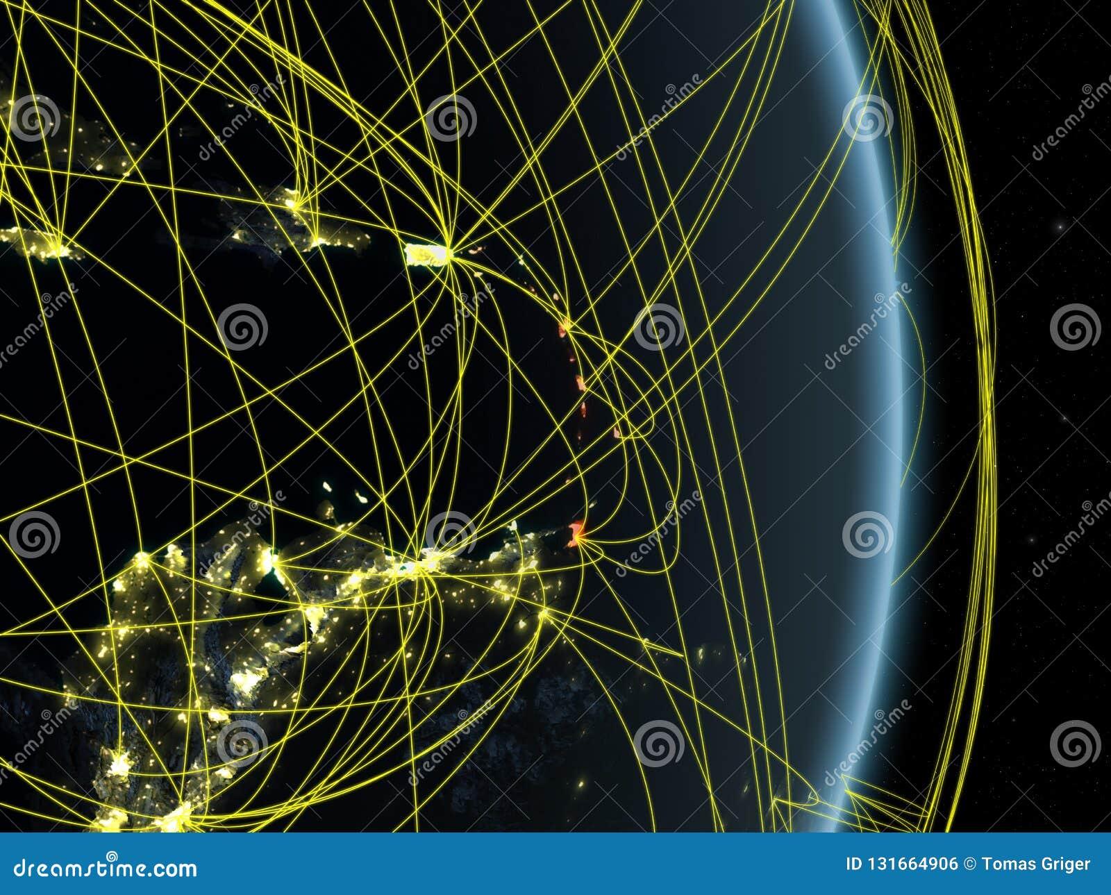 Καραϊβικές Θάλασσες τη νύχτα στο πλανήτη Γη πλανητών με το δίκτυο Έννοια της συνδετικότητας, του ταξιδιού και της επικοινωνίας τρ