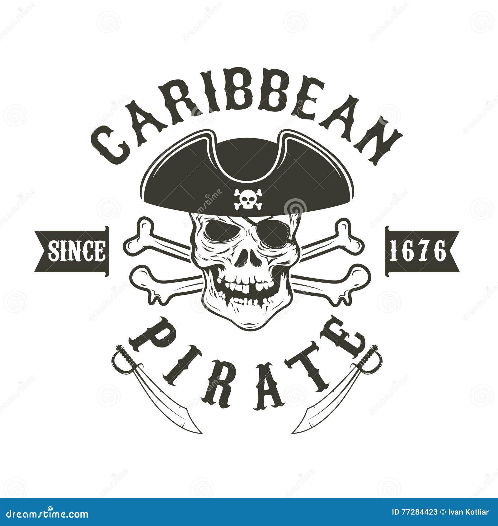 καραϊβικός πειρατής Κρανίο πειρατών στο ναύαρχο headdress και τα ξίφη