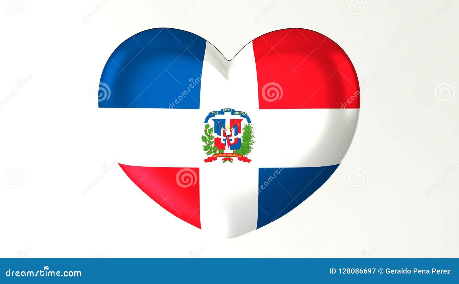 Καρδιά-διαμορφωμένη τρισδιάστατη απεικόνιση Ι σημαιών Δομινικανή Δημοκρατία αγάπης