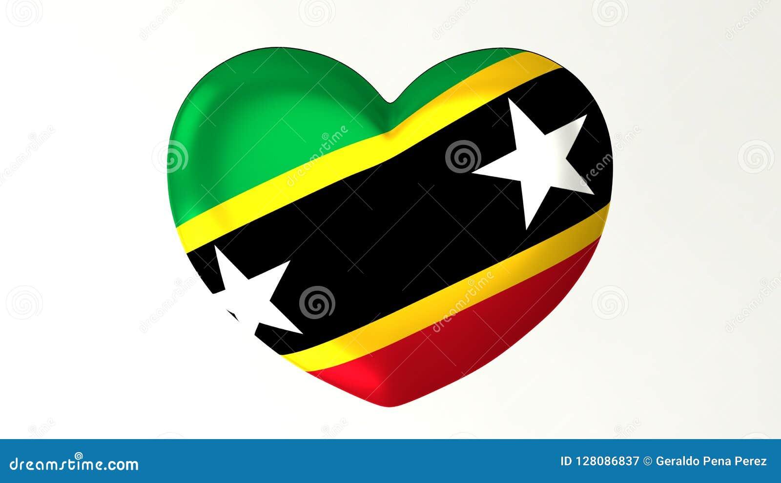 Καρδιά-διαμορφωμένη τρισδιάστατη απεικόνιση Ι σημαιών Σαιντ Κιτς και Νέβις αγάπης