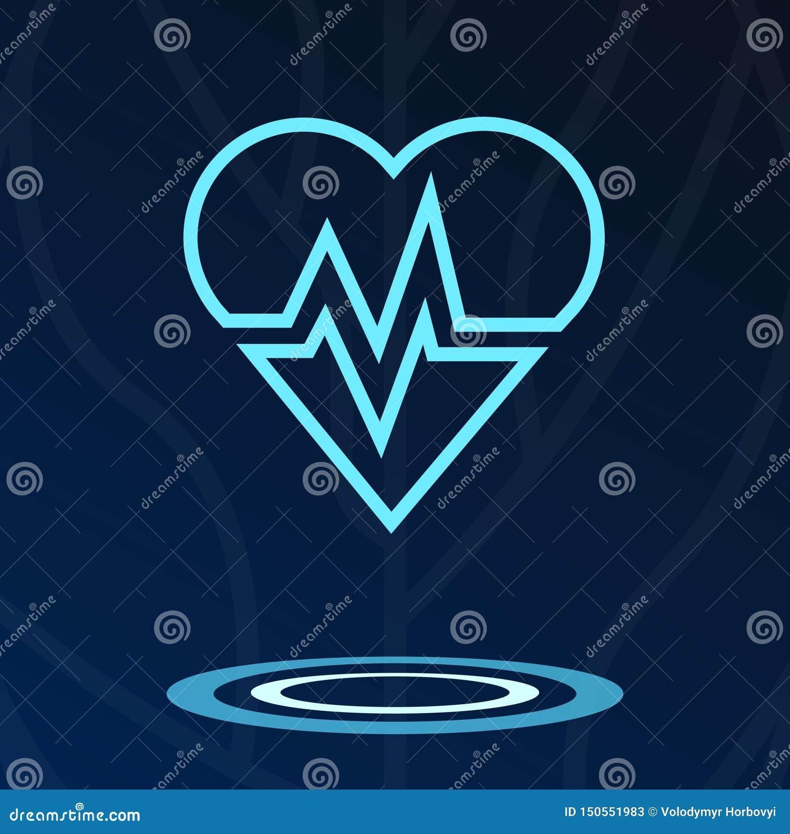 Καρδιά, καρδιο ολόγραμμα σημαδιών logotype