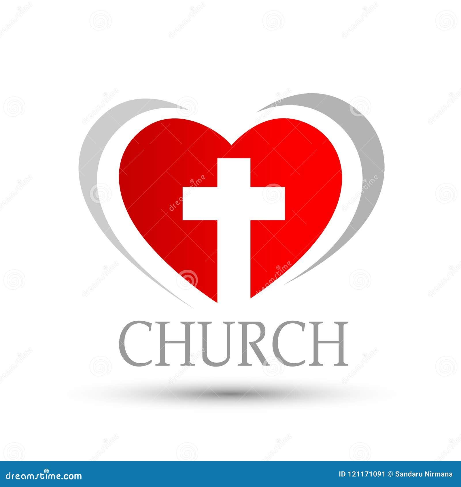 Καρδιά με το διαγώνιο σύμβολο εικονιδίων λογότυπων εκκλησιών αγάπης στο άσπρο υπόβαθρο