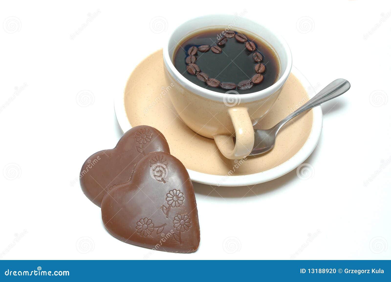 καρδιές καφέ σοκολάτας