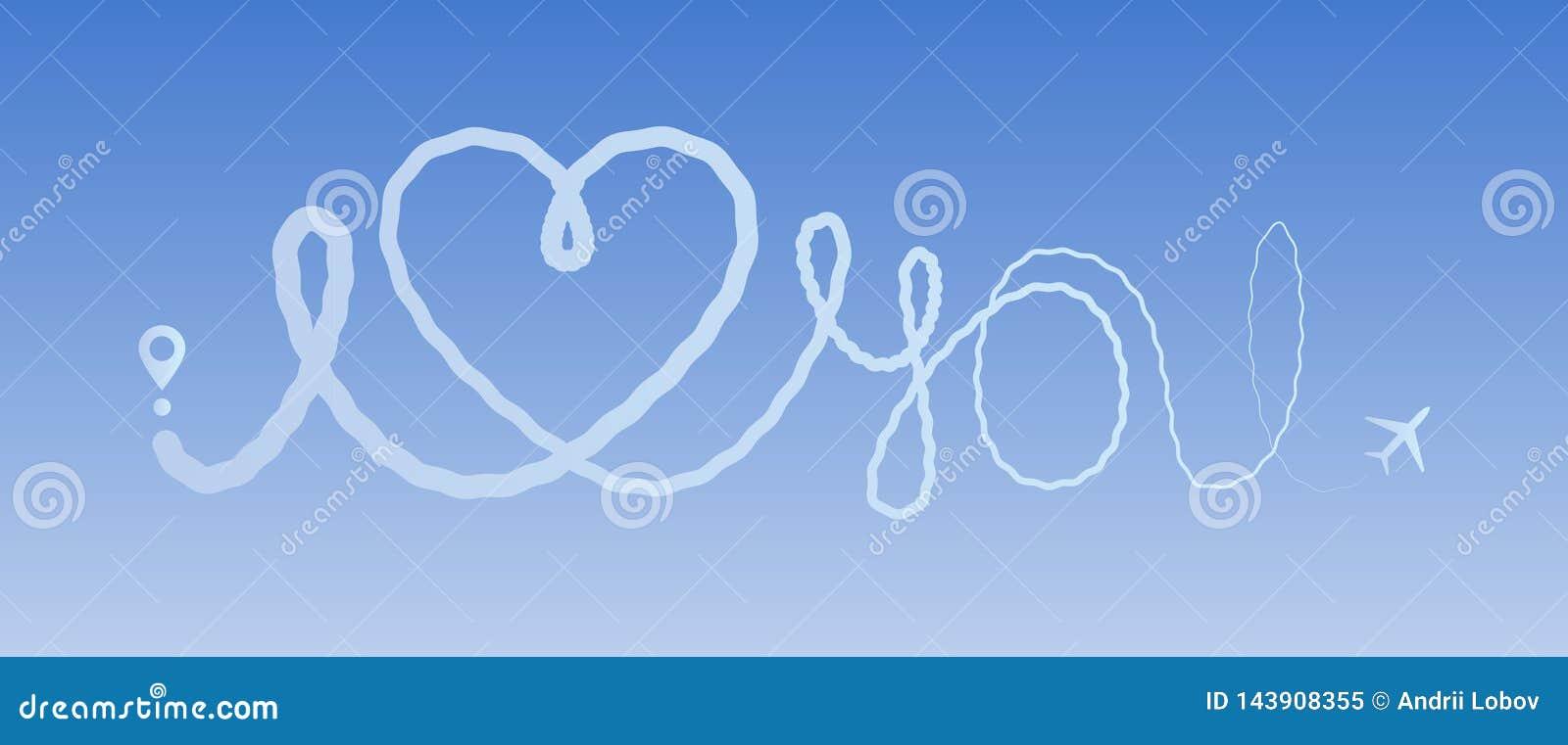 Καρδιών ταξιδιού αγάπης αεροπλάνων εγκάρδια πορεία διαδρομών αεροπλάνων ιχνών γραμμών ταξιδιού διαδρομών η ρομαντική σας αγαπά γρ