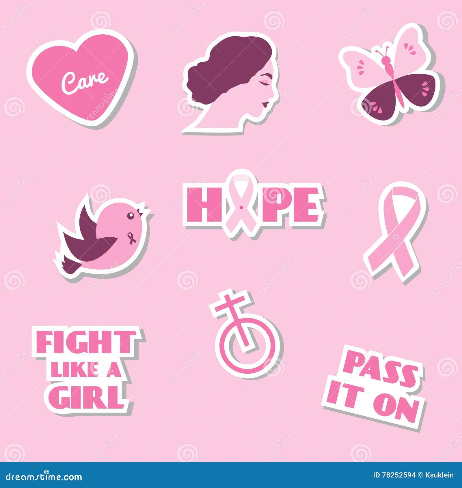 Καρκίνου του μαστού συνειδητοποίησης εικονίδια, αυτοκόλλητες ετικέττες, ετικέτες, καρφίτσες με το σύνθημα, φράσεις και σύμβολα μή