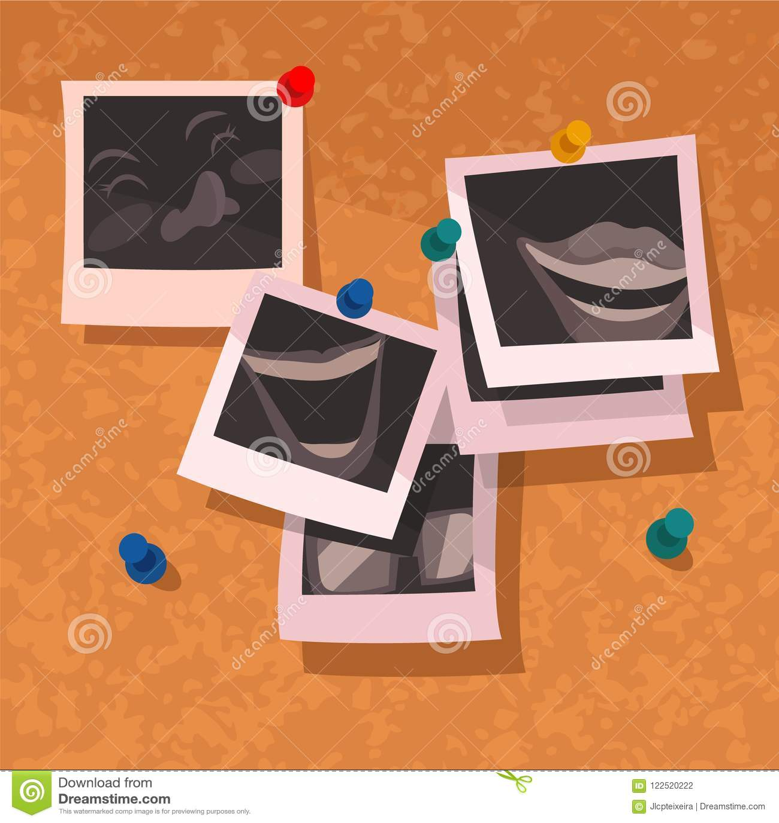 Καρφωμένες μνήμες Corkboard διασκέδασης Polaroids