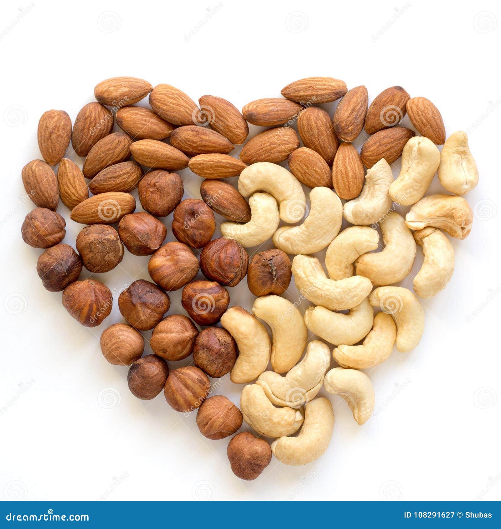 Καρύδι καρδιών Το δυτικό ανακάρδιο, αμύγδαλο, φουντούκι υγιής χορτοφάγος τροφίμων