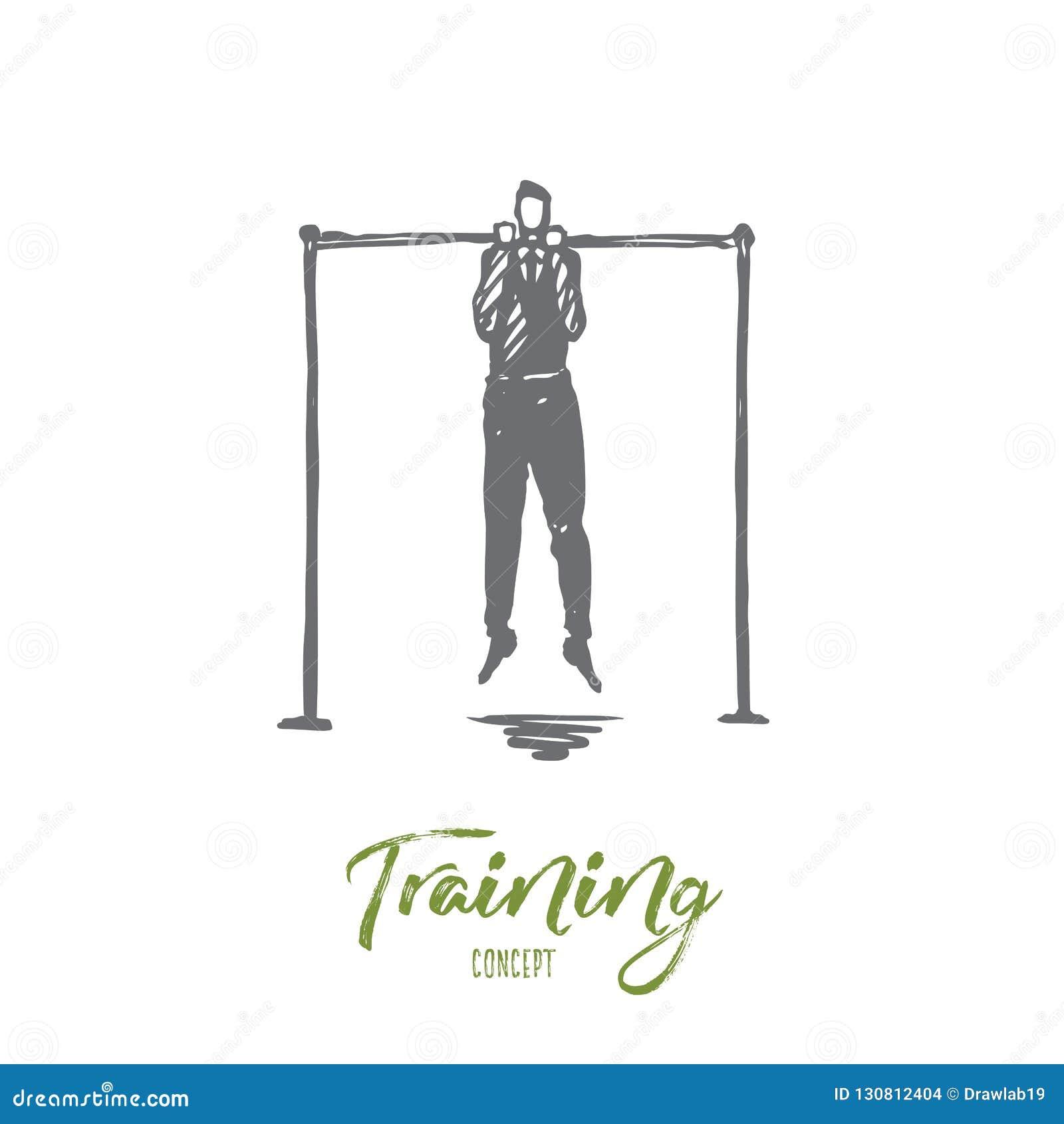 Κατάρτιση, να διδάξει, επιχείρηση, ανάπτυξη, επαγγελματική έννοια Συρμένο χέρι απομονωμένο διάνυσμα