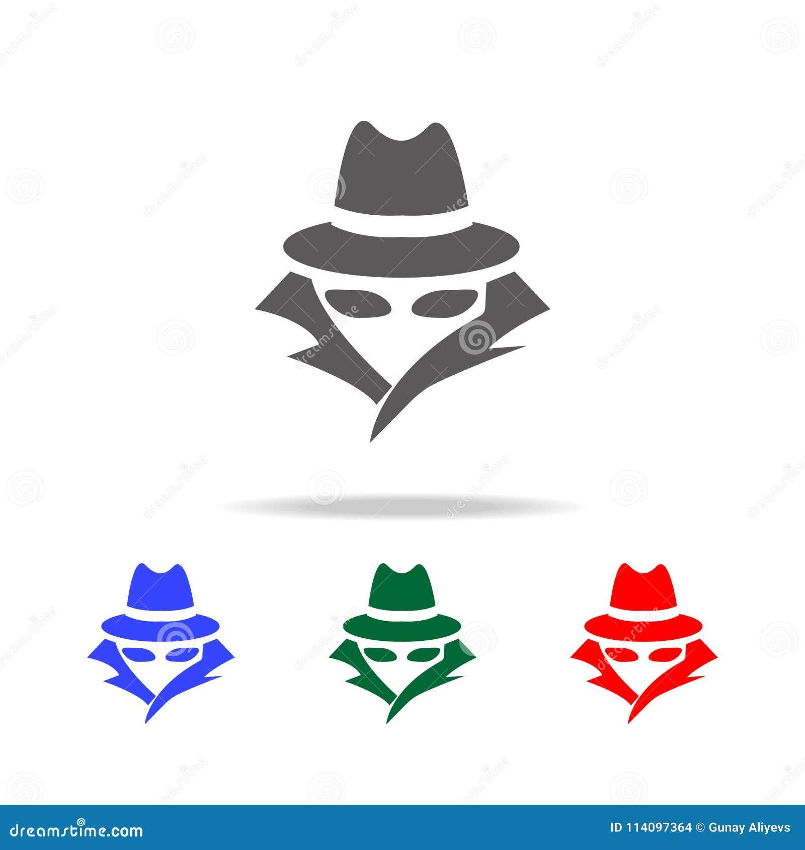 Κατάσκοπος, εικονίδιο πρακτόρων Στοιχεία των πολυ χρωματισμένων εικονιδίων ασφάλειας cyber Γραφικό εικονίδιο σχεδίου εξαιρετικής