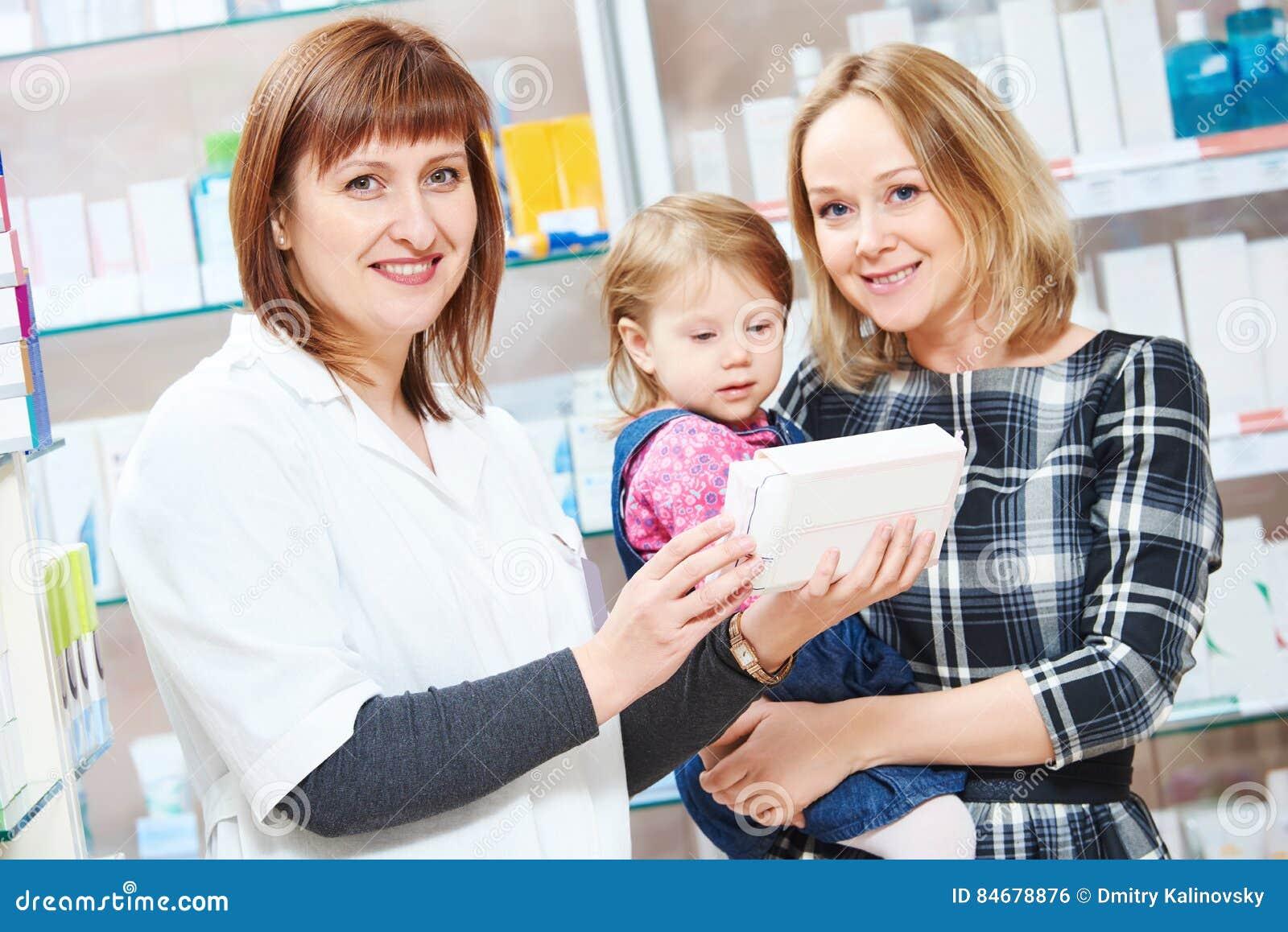 Κατάστημα φαρμακείων Θηλυκό πορτρέτο φαρμακοποιών