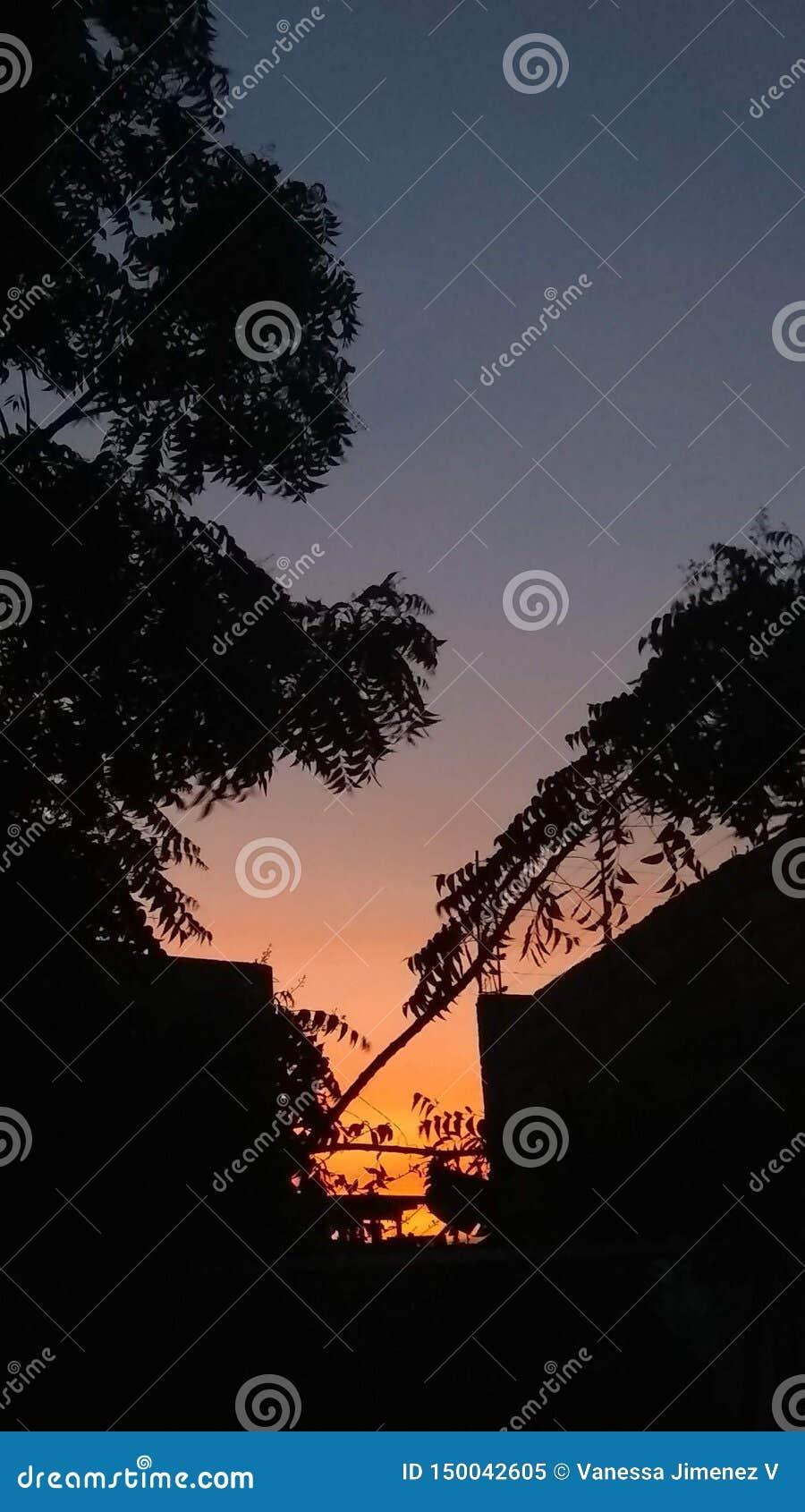 Καταπληκτικό πορτοκάλι ηλιοβασιλέματος στις μπλε κλίσεις