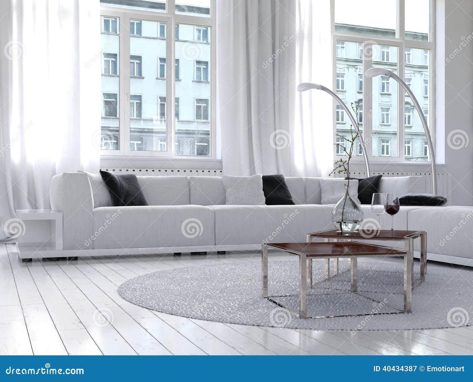 Καταπληκτικό άσπρο εσωτερικό καθιστικών σοφιτών
