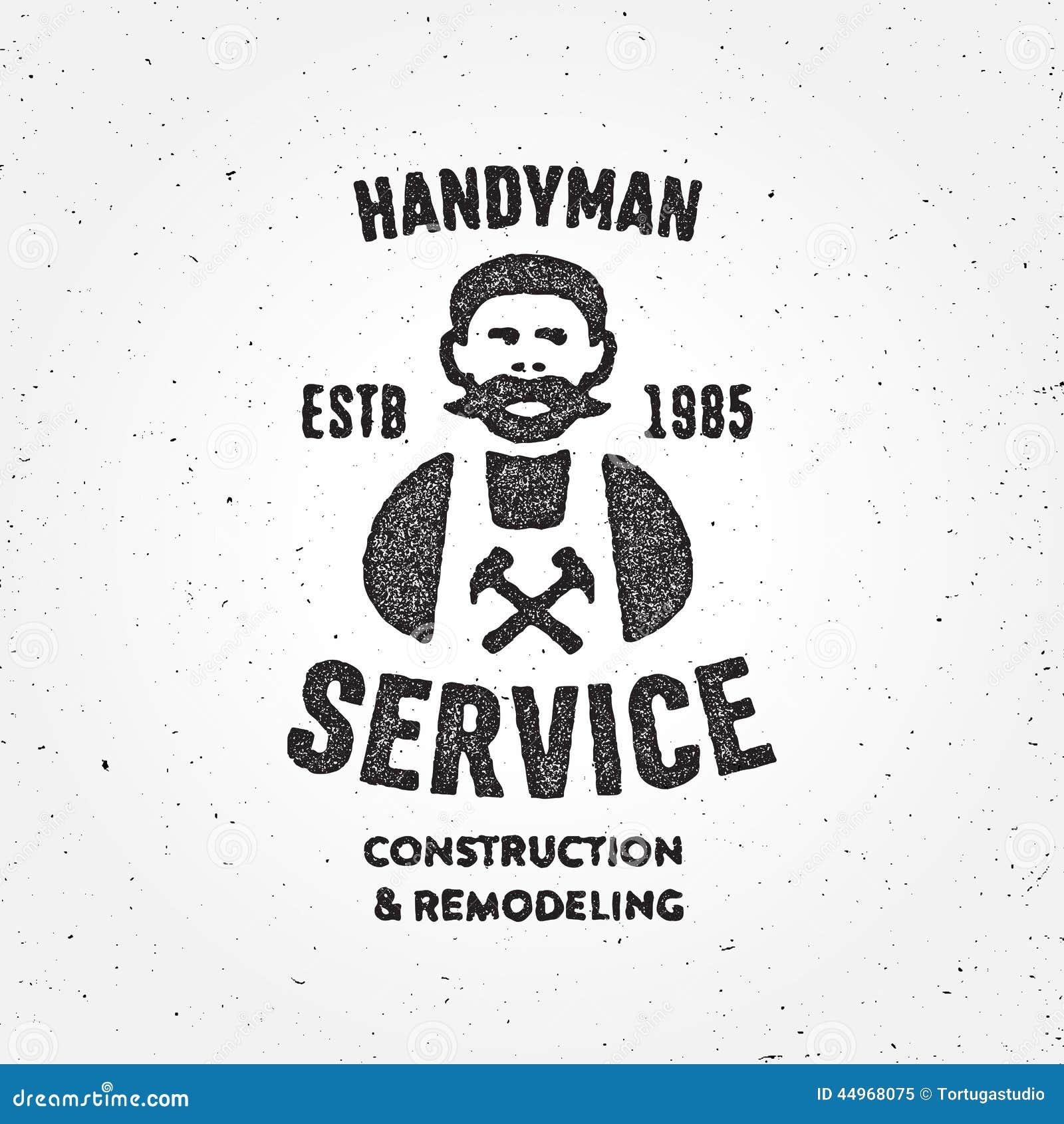Κατασκευασμένο αναδρομικό Handyman σύμβολο διακριτικών υπηρεσιών ξυλουργών εταιρικό