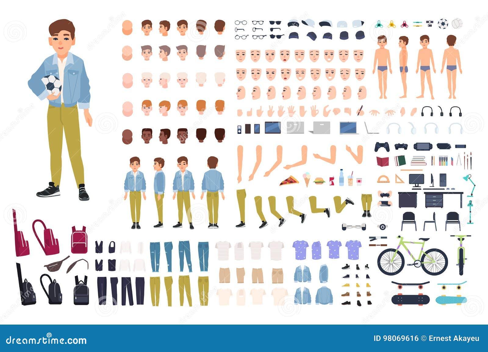 Κατασκευαστής χαρακτήρα μικρών παιδιών Σύνολο δημιουργιών αγοριών Διαφορετικές στάσεις, hairstyle, πρόσωπο, πόδια, χέρια, ενδύματ