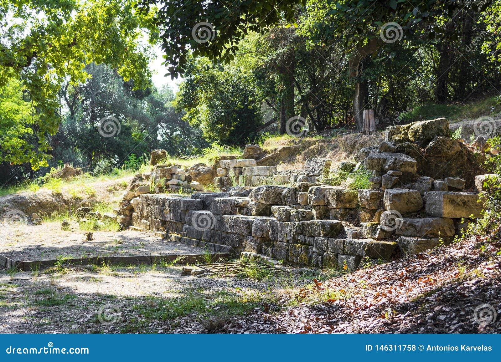Καταστροφές ενός αρχαίου ναού στο νησί της Κέρκυρας στην Ελλάδα