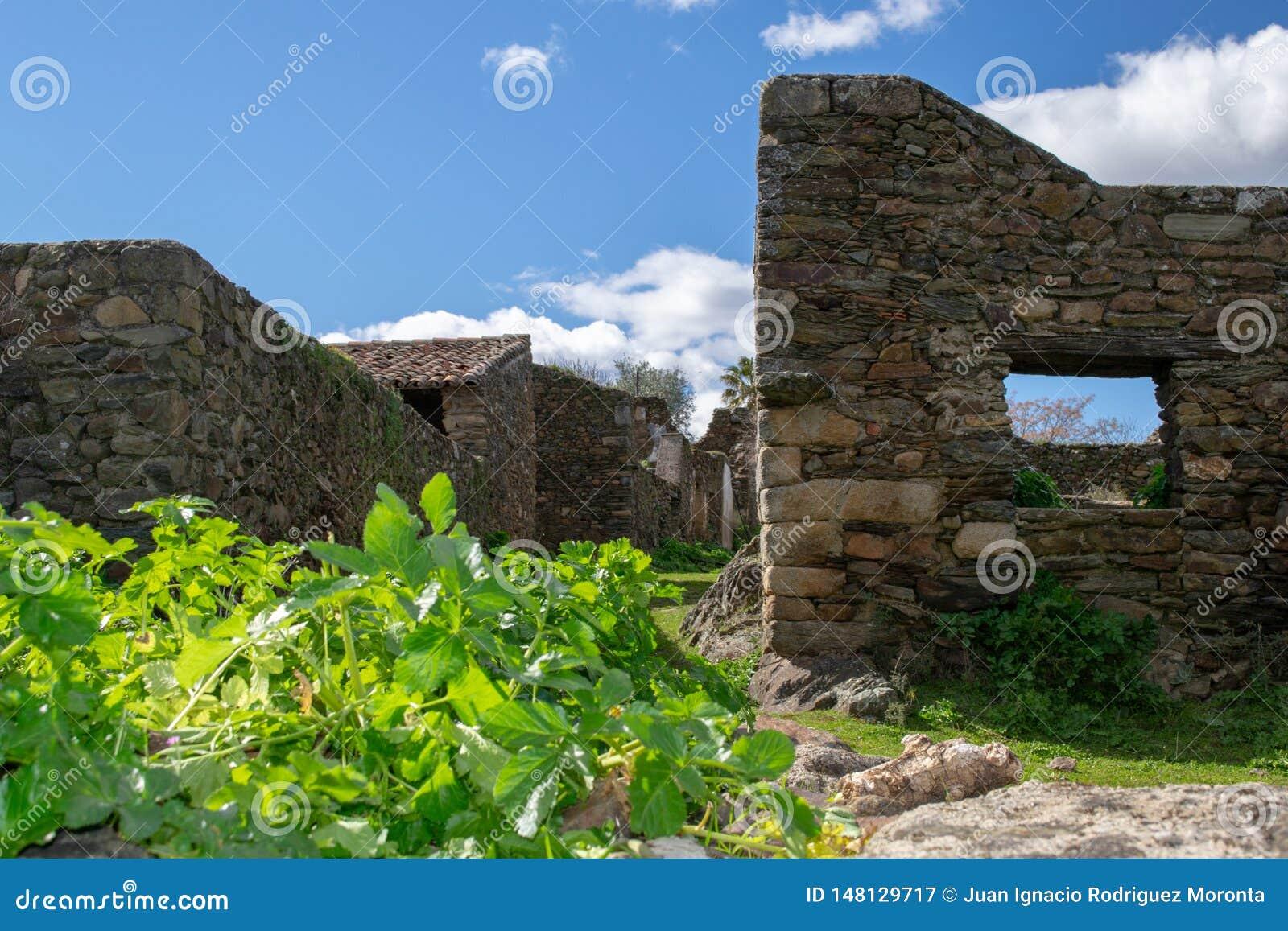 καταστροφές των σπιτιών στο εγκαταλειμμένο χωριό