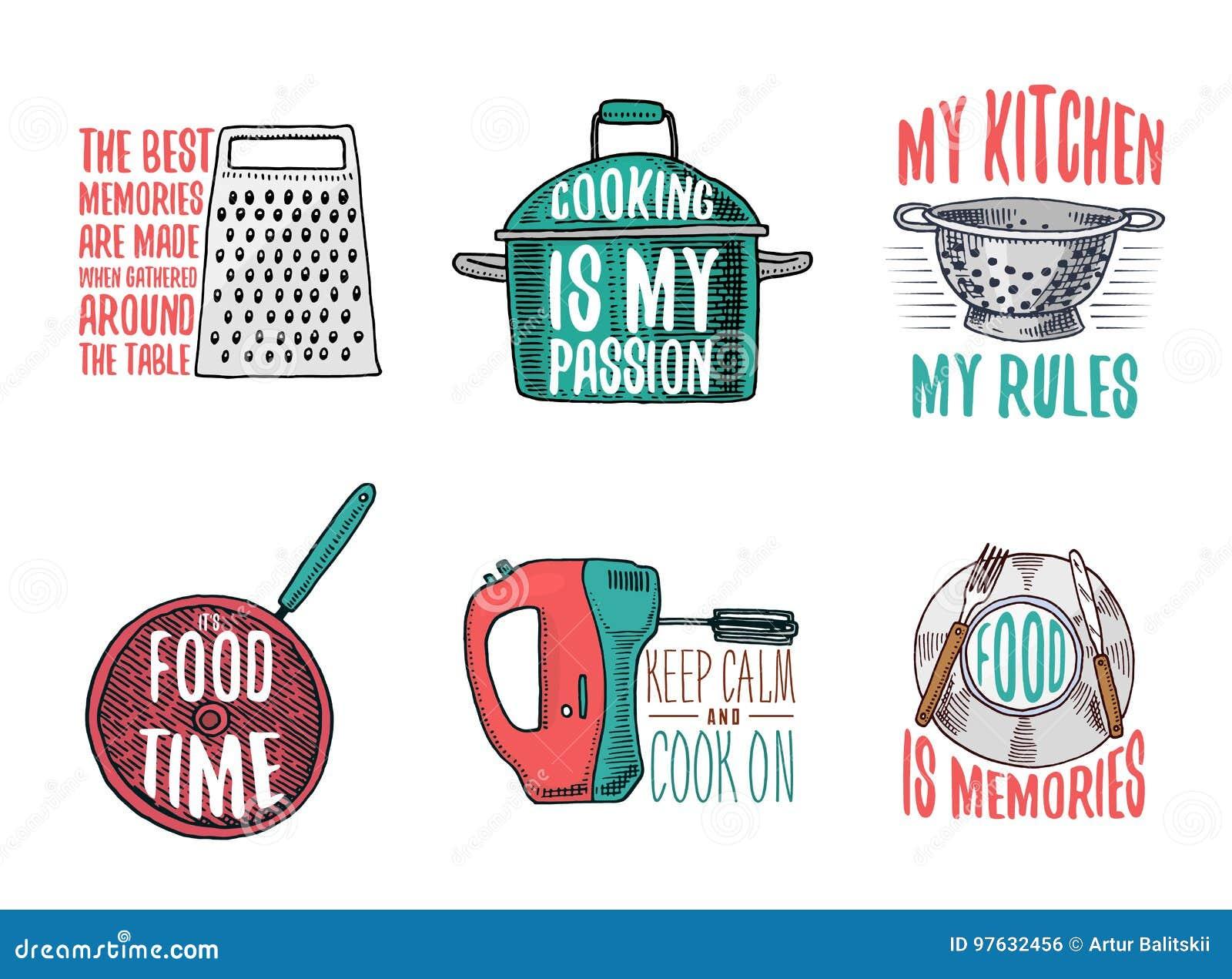 Κατσαρόλλα και ξύστης, τρυπητό και τηγανίζοντας τηγάνι, αναμίκτης και πιάτο Ψήνοντας ή βρώμικα εργαλεία κουζινών, μαγειρεύοντας ο