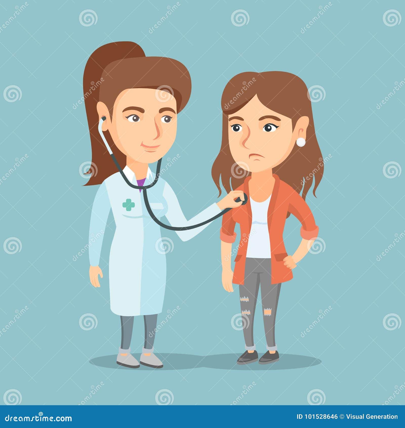 Καυκάσιος γιατρός που ακούει το στήθος ενός ασθενή