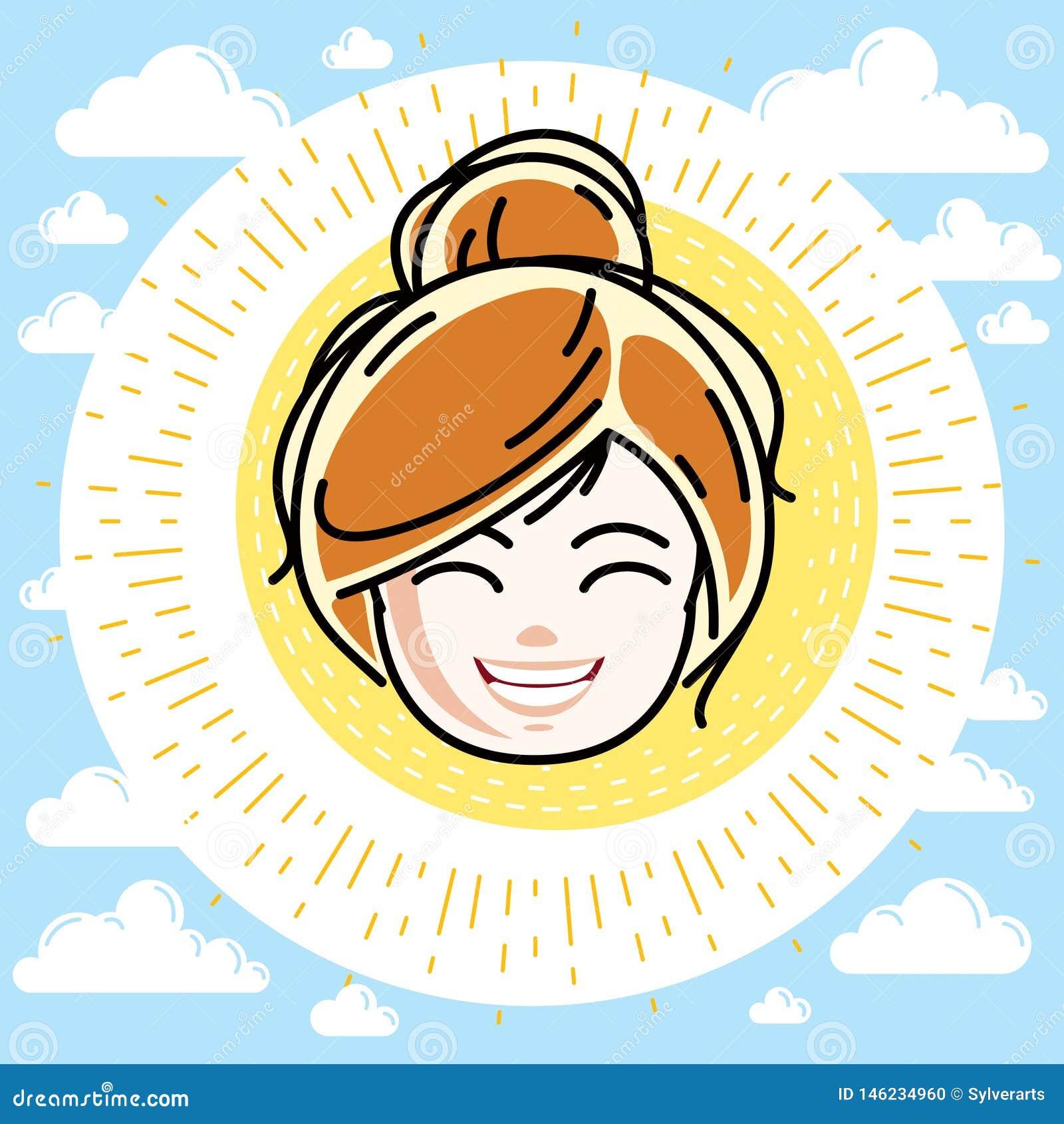 Καυκάσιο πρόσωπο κοριτσιών τύπων που εκφράζει τις θετικές συγκινήσεις, διανυσματική ανθρώπινη επικεφαλής απεικόνιση Όμορφο redhea