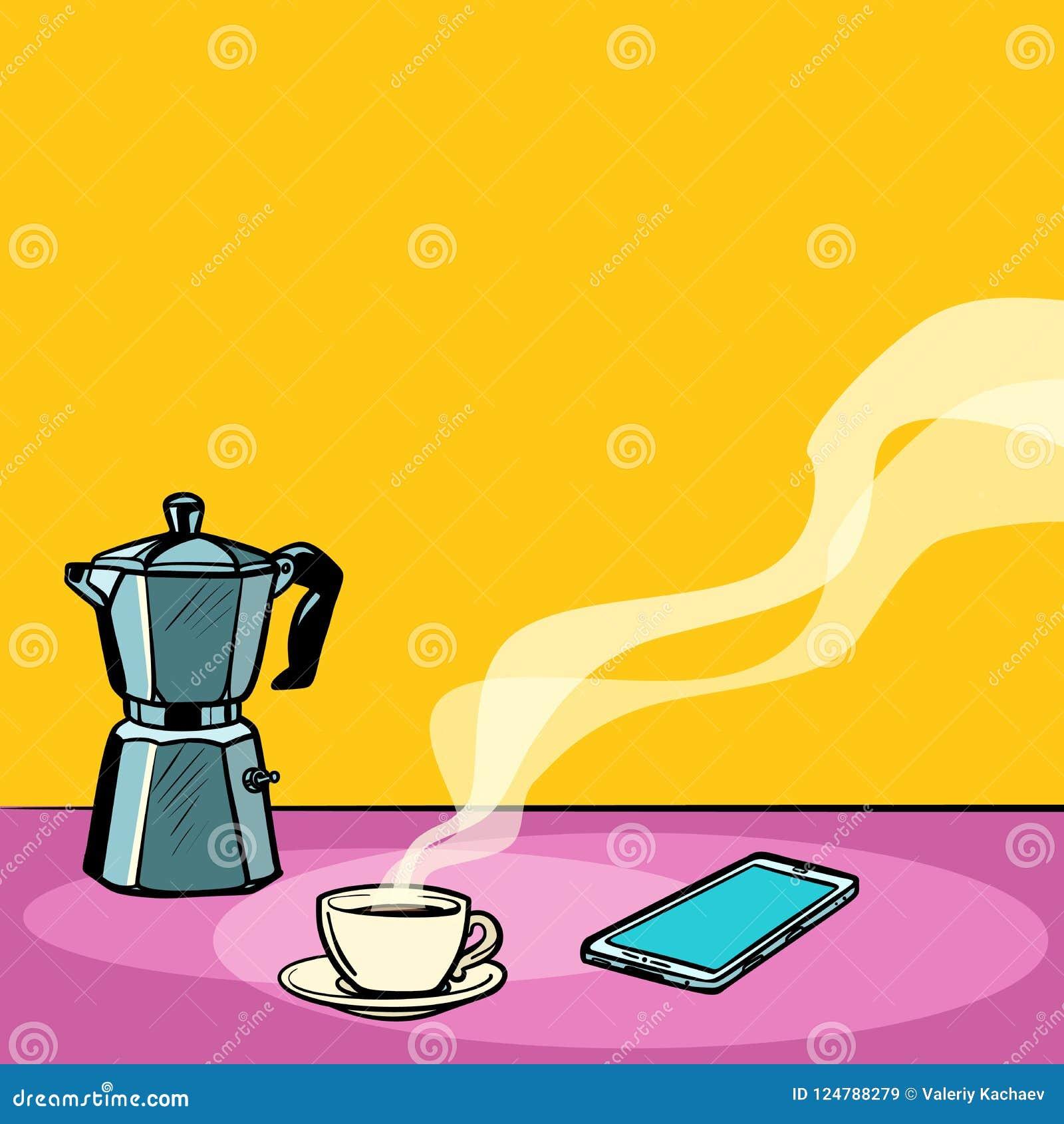 Καυτός καφές πρωινού στον πίνακα