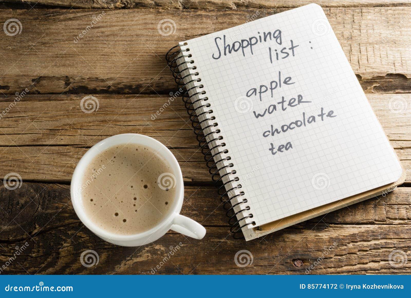 Καφές και ημερολόγιο σημειωματάρια Μια σημείωση Κατάλογος αγορών
