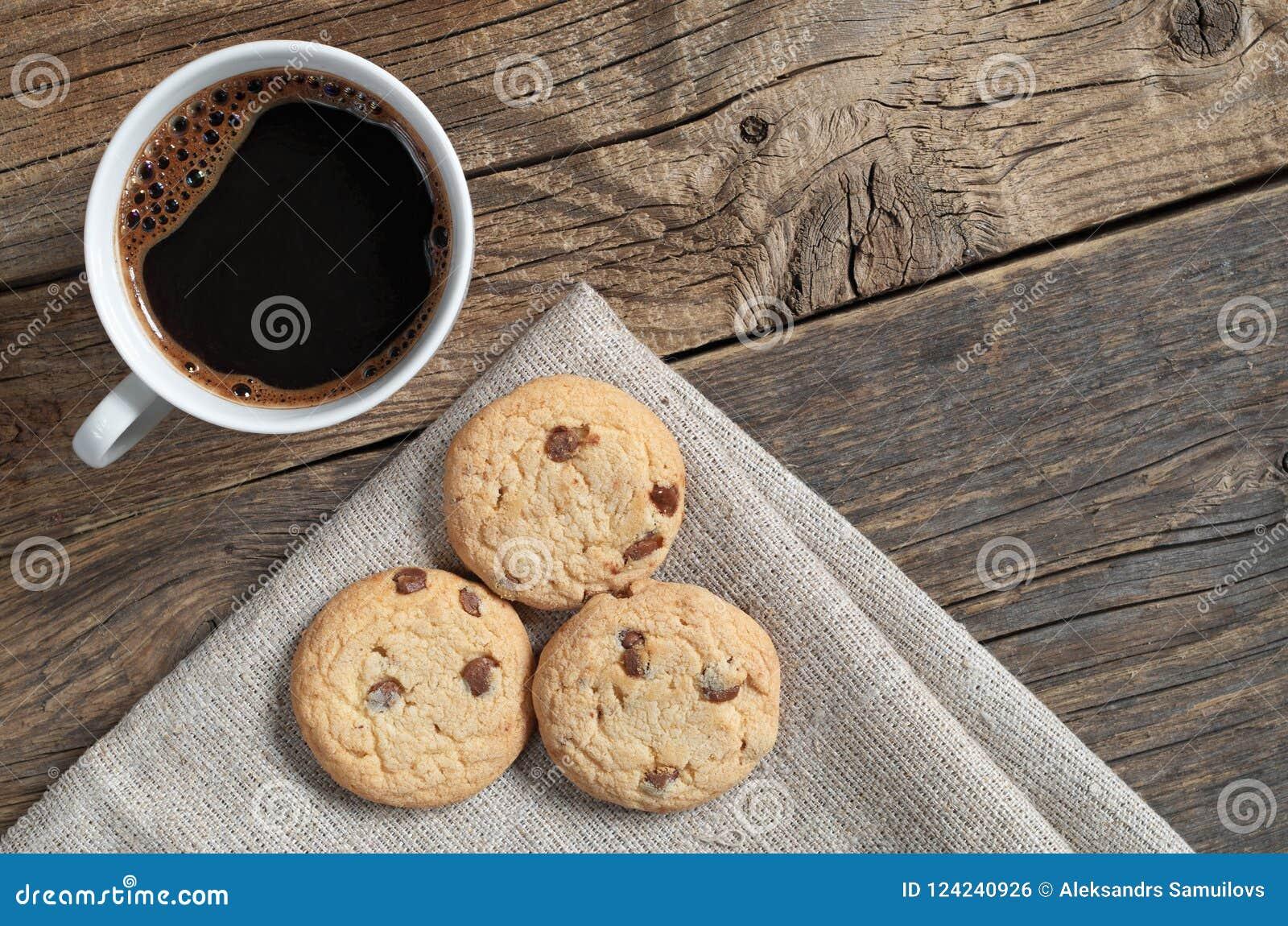 Καφές και μπισκότα με τη σοκολάτα