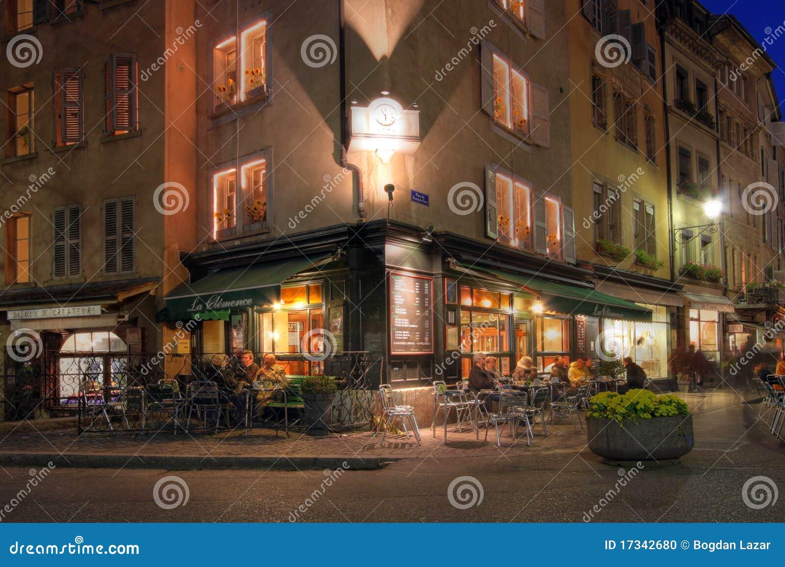 Καφές-κατάστημα γωνιών στη Γενεύη, Ελβετία
