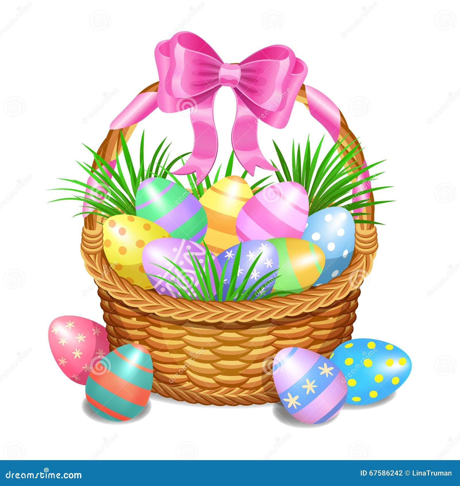 Καλάθι Πάσχας με χρωματισμένα τα χρώμα αυγά Πάσχας στο λευκό