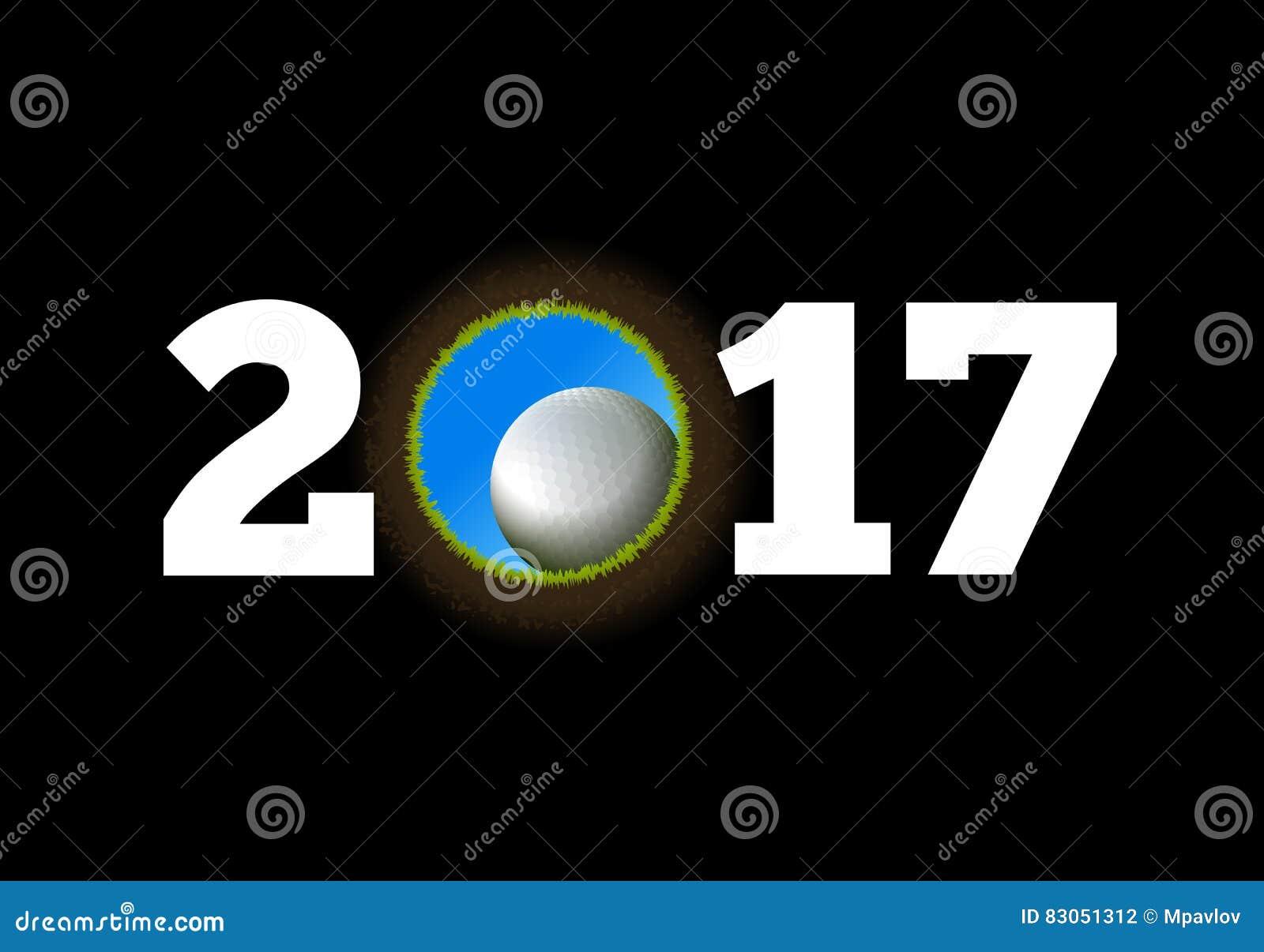 Καλή χρονιά στο υπόβαθρο μιας σφαίρας γκολφ που περιέρχεται στην τρύπα