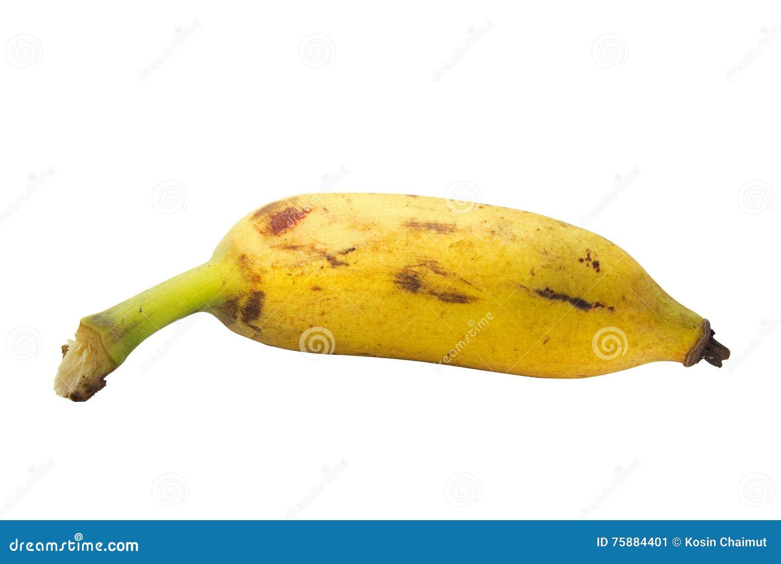 Καλλιεργημένη μπανάνα στο άσπρο υπόβαθρο με το ψαλίδισμα του ελαφριού κτυπήματος