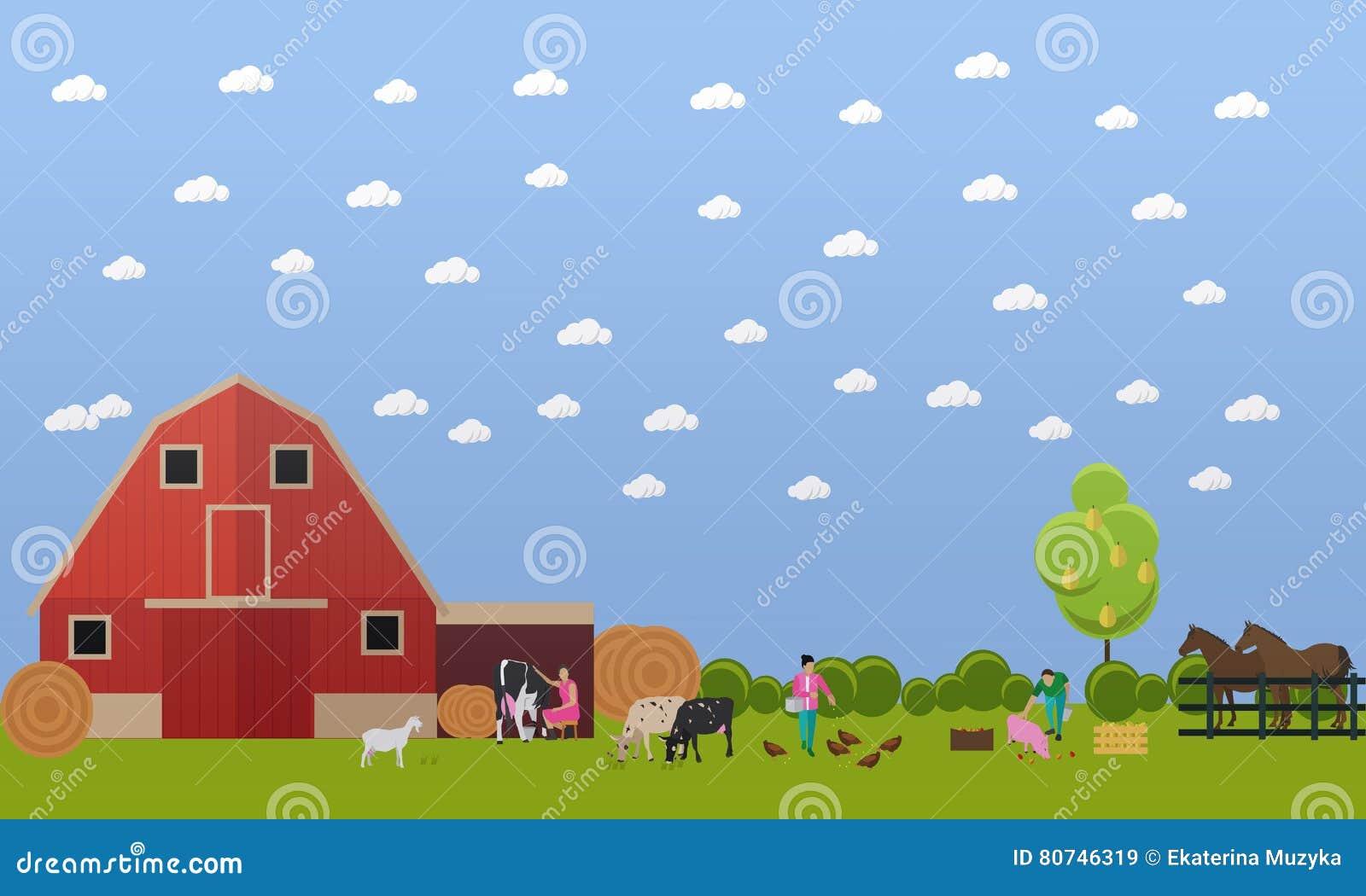 Καλλιεργώντας άνδρες και γυναίκες που εργάζονται στην αυλή, διανυσματική απεικόνιση