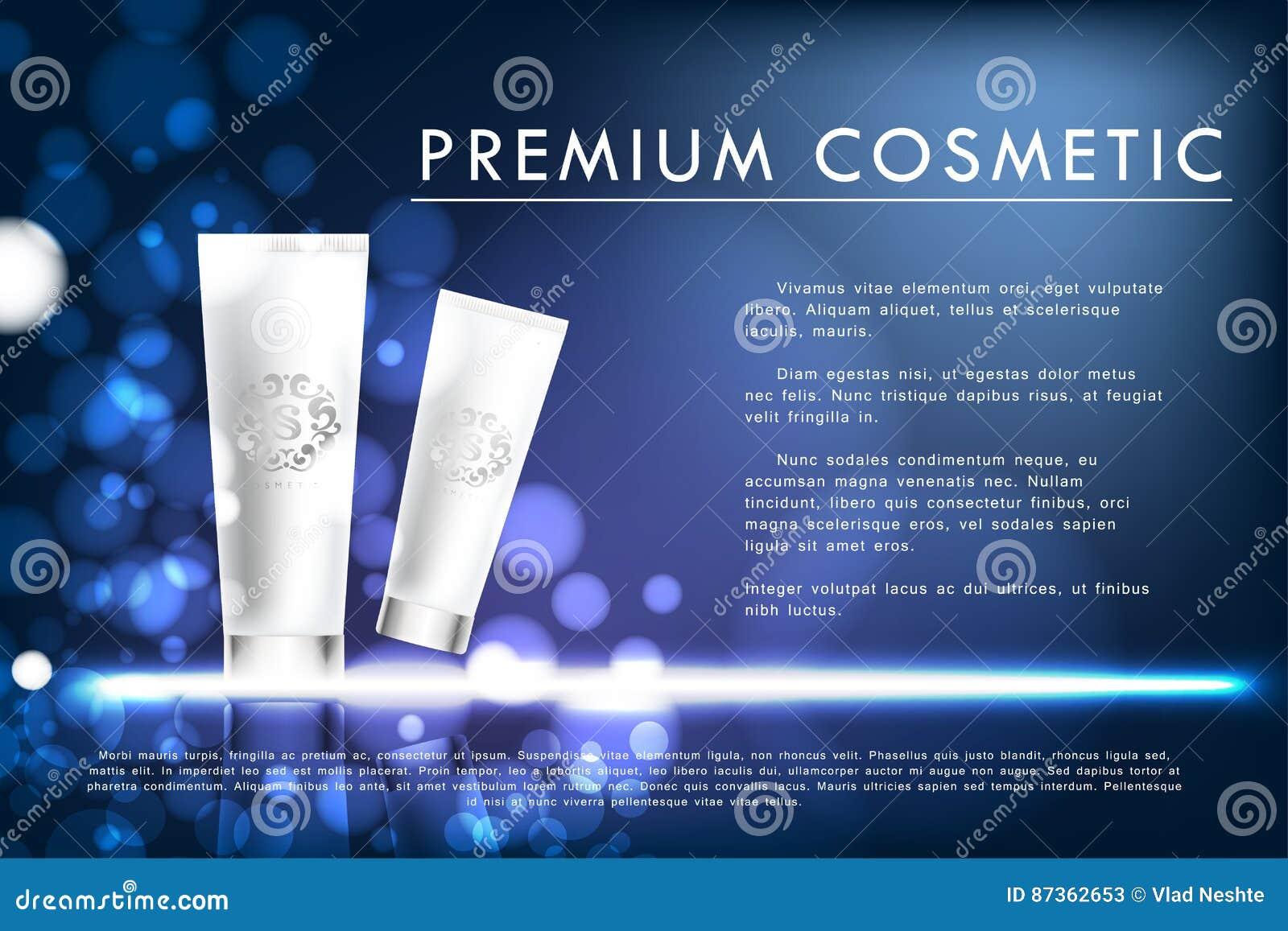 Καλλυντική αφίσα προϊόντων, άσπρο σχέδιο συσκευασίας μπουκαλιών
