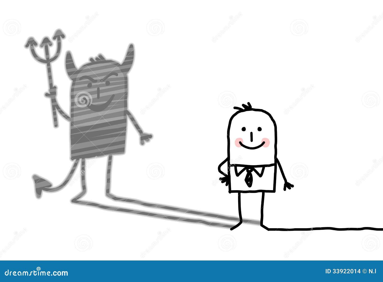 Καλό άτομο με τη σκιά διαβόλων