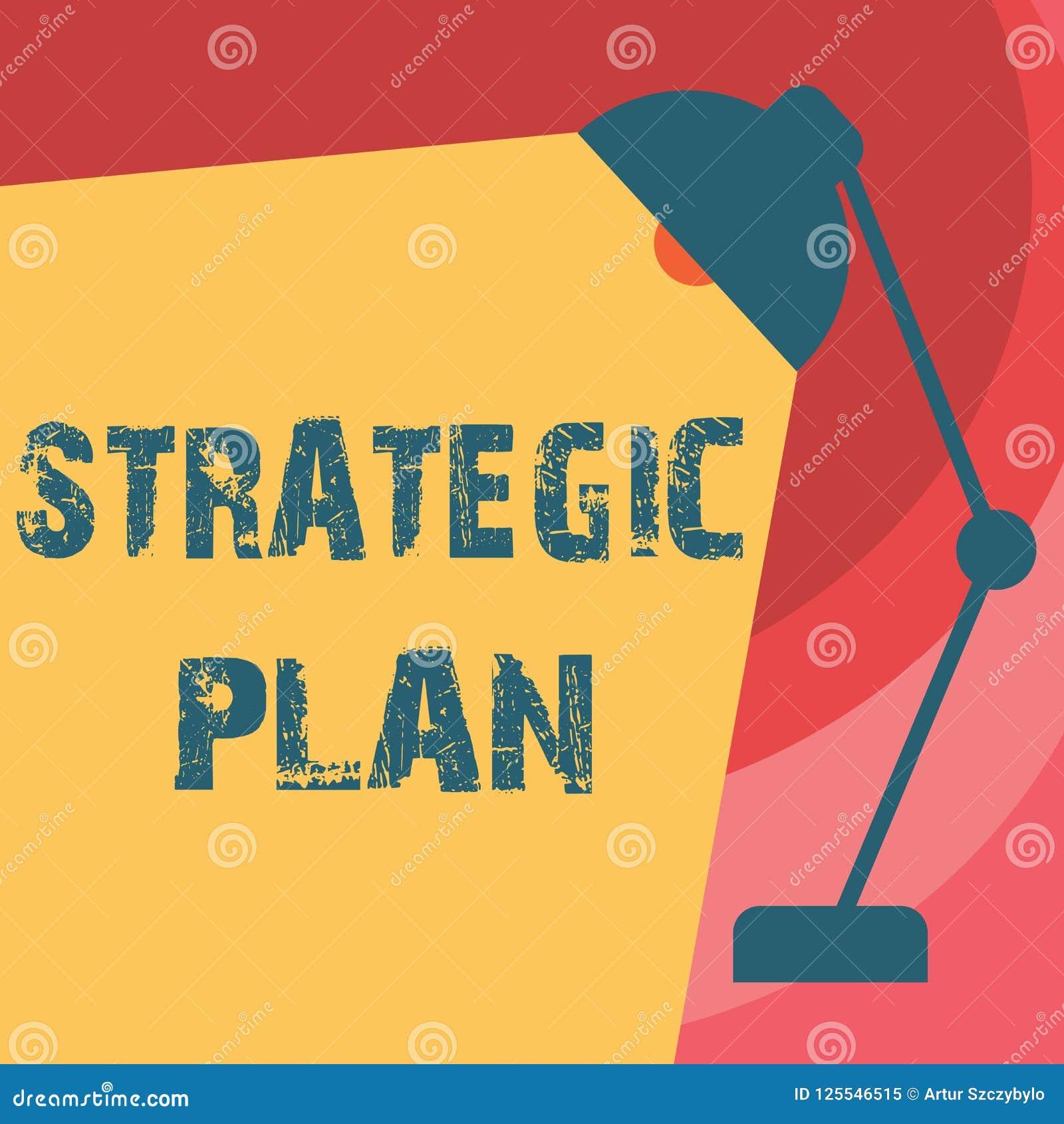 Κείμενο γραφής που γράφει το στρατηγικό σχέδιο Έννοια που σημαίνει τη διαδικασία Α τη στρατηγική και τις αποφάσεις