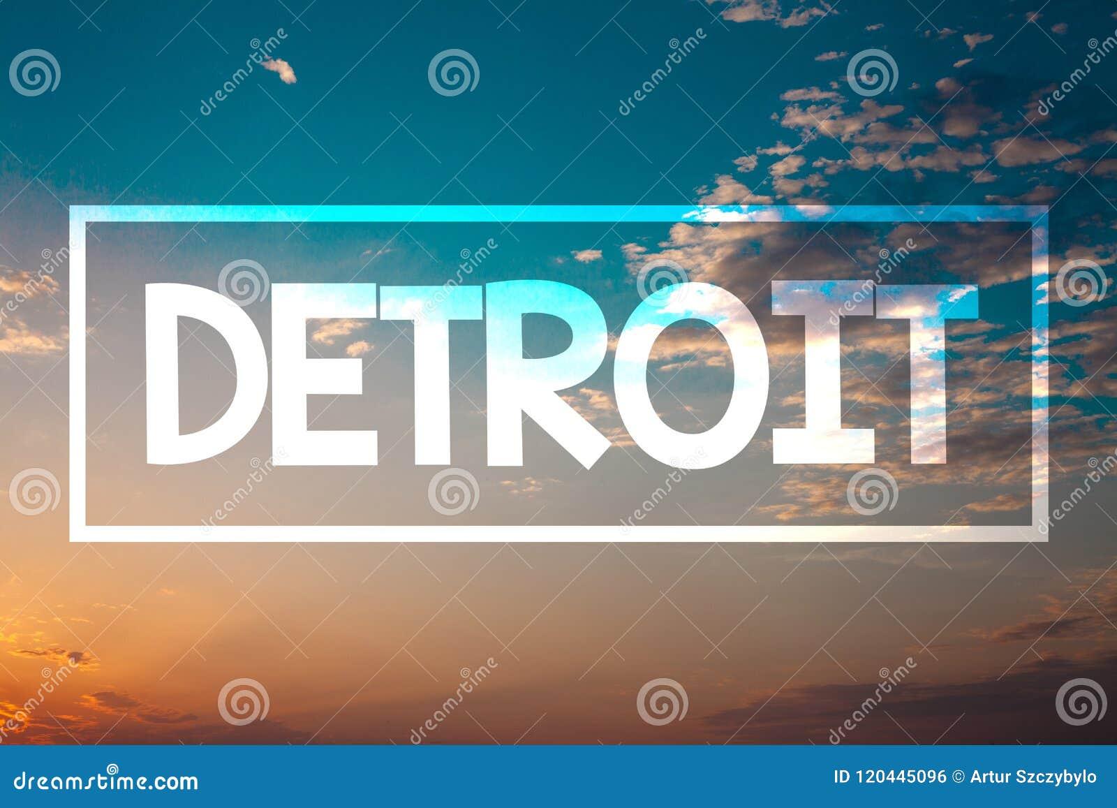 Κείμενο Ντιτρόιτ γραφής Έννοια που σημαίνει την πόλη στο κεφάλαιο των Ηνωμένων Πολιτειών της Αμερικής του μπλε πορτοκαλιού παραλι