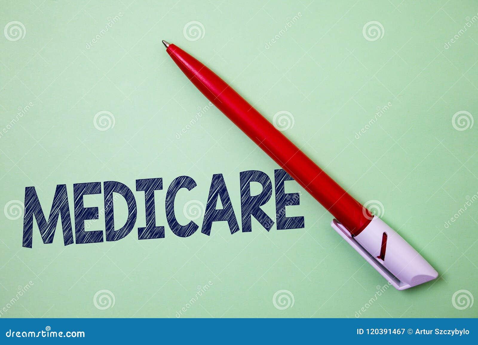 Κείμενο Medicare γραφής Έννοια που σημαίνει την ομοσπονδιακή ασφάλεια υγείας για τους ανθρώπους επάνω από 65 ή το ανάπηρο έργο τέ