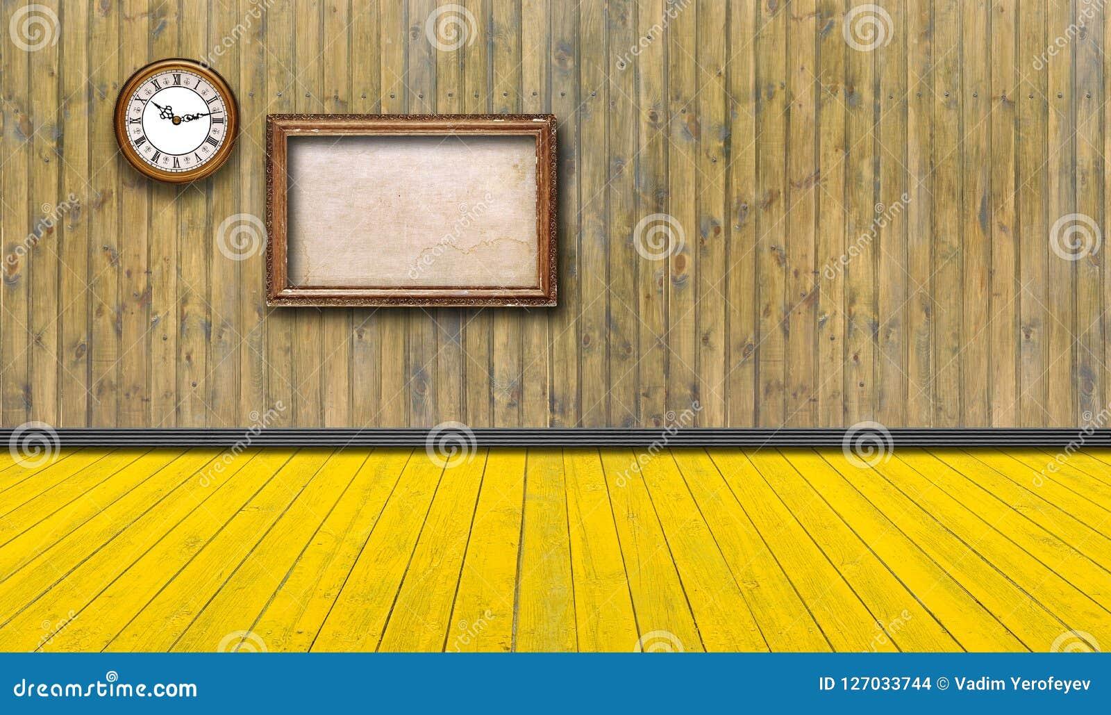 Κενά εκλεκτής ποιότητας πλαίσια και ρολόι ενάντια σε έναν ξύλινο τοίχο