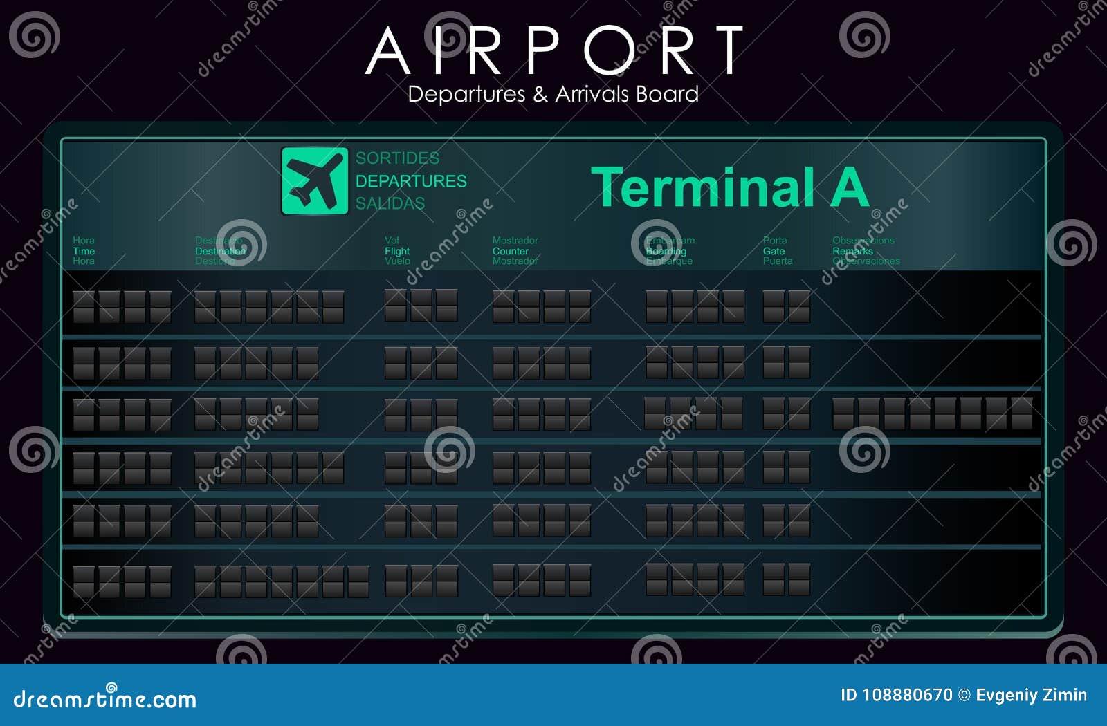Κενές αναχωρήσεις προτύπων πινάκων βαθμολογίας πτήσεων