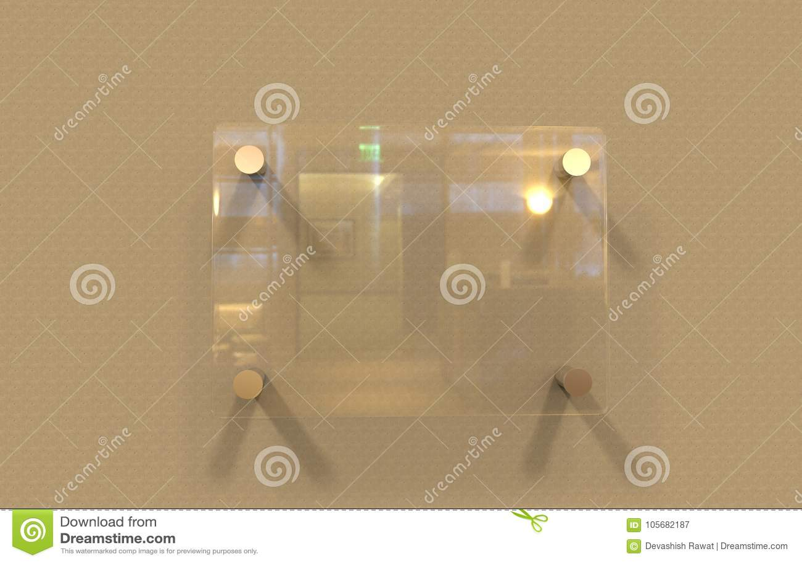 Κενή διαφανής γυαλιού εσωτερική χλεύη πιάτων συστημάτων σηματοδότησης γραφείων εταιρική επάνω στο πρότυπο, τρισδιάστατη απεικόνισ