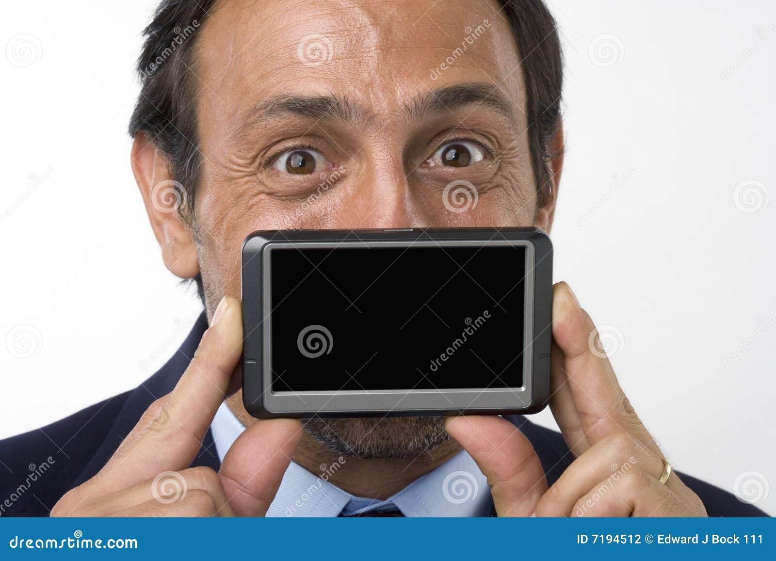 κενή εκμετάλλευση συσκευών επιχειρηματιών scre που χαμογελά