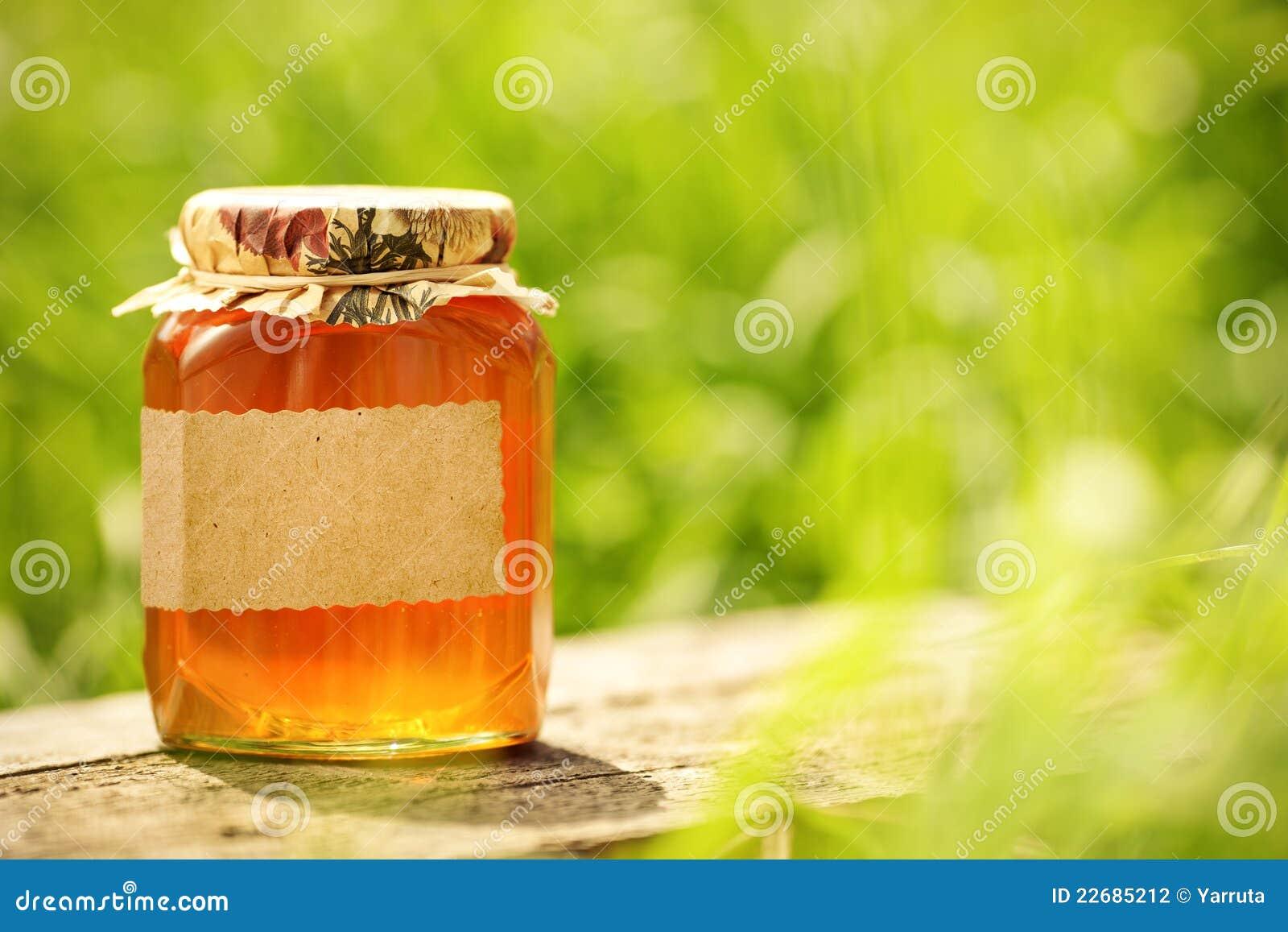 κενή flowery ετικέτα βάζων μελιού γυαλιού