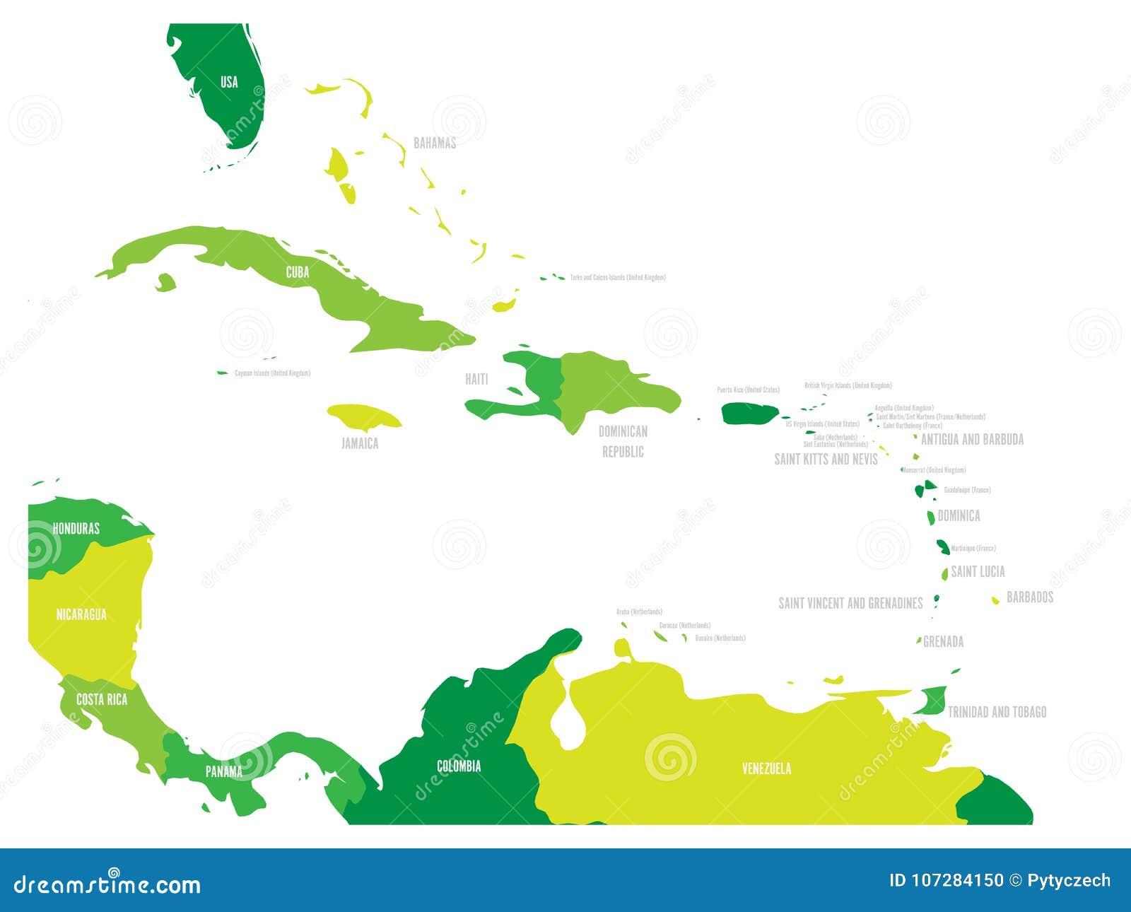 Κεντρική Αμερική και καραϊβικός κρατικός πολιτικός χάρτης σε τέσσερις σκιές πράσινου με τις ετικέτες ονομάτων Μαύρης Χώρας Απλό ε