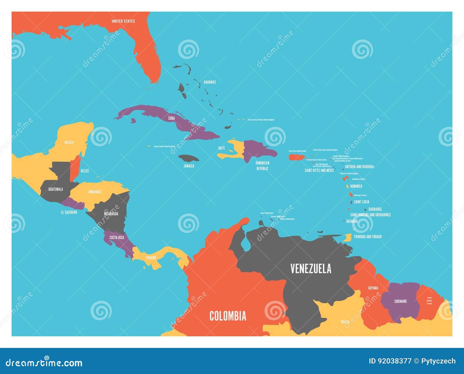 Κεντρική Αμερική και καραϊβικός κρατικός πολιτικός χάρτης με τις ετικέτες ονομάτων χωρών Απλή επίπεδη διανυσματική απεικόνιση