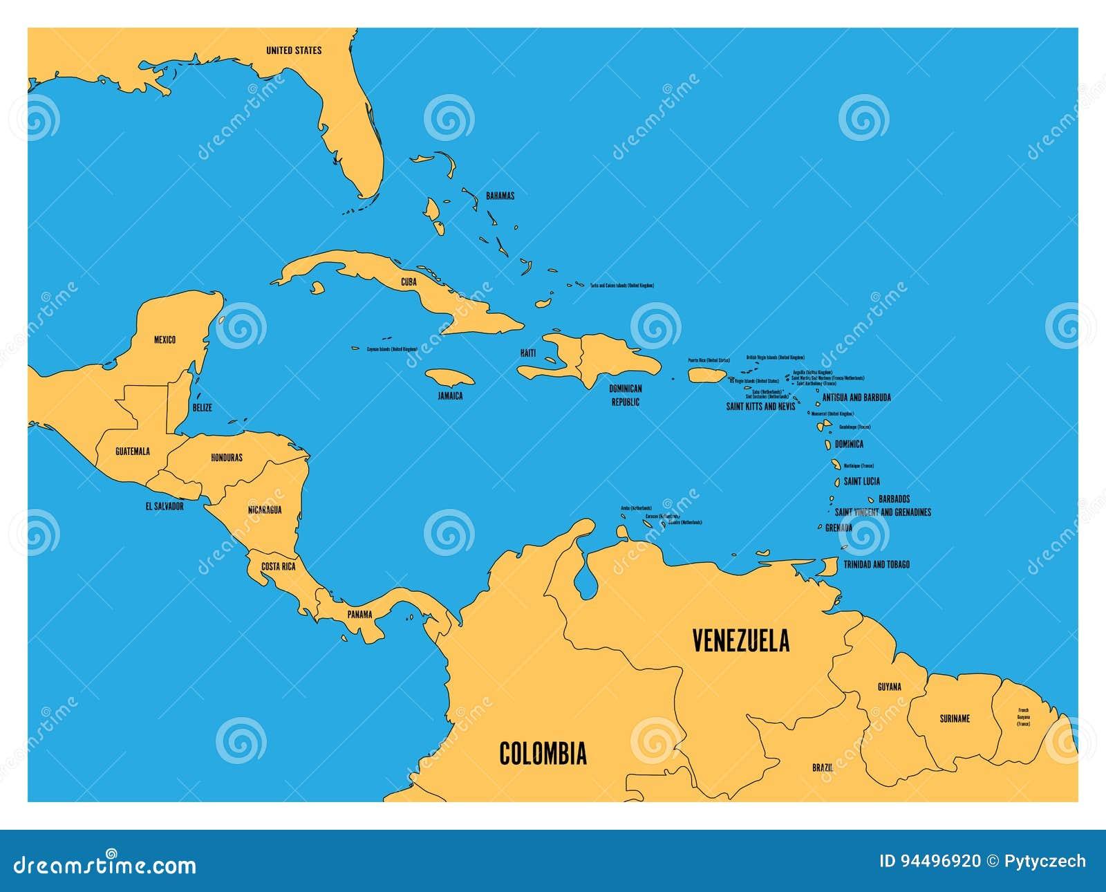 Κεντρική Αμερική και καραϊβικός κρατικός πολιτικός χάρτης Το κίτρινο έδαφος με Μαύρη Χώρα ονομάζει τις ετικέτες στο μπλε υπόβαθρο