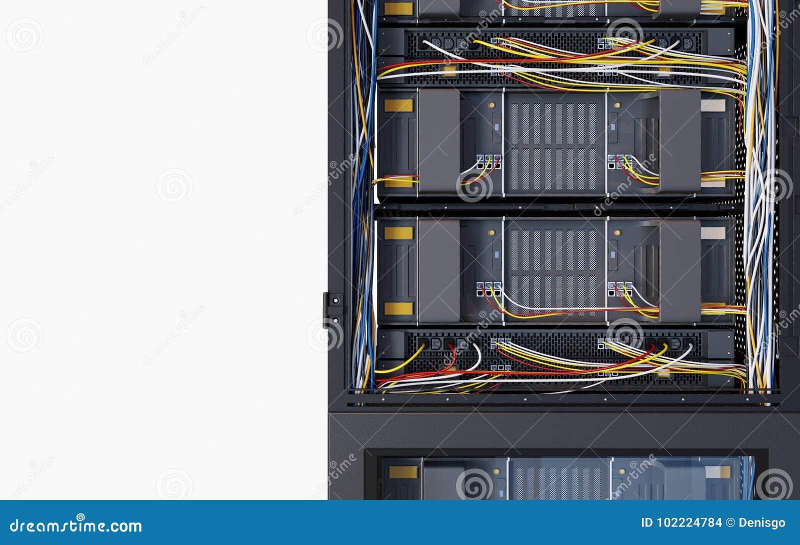 Κεντρικοί υπολογιστές και φωτογραφία έννοιας τεχνολογίας υπολογιστών δωματίων υλικού