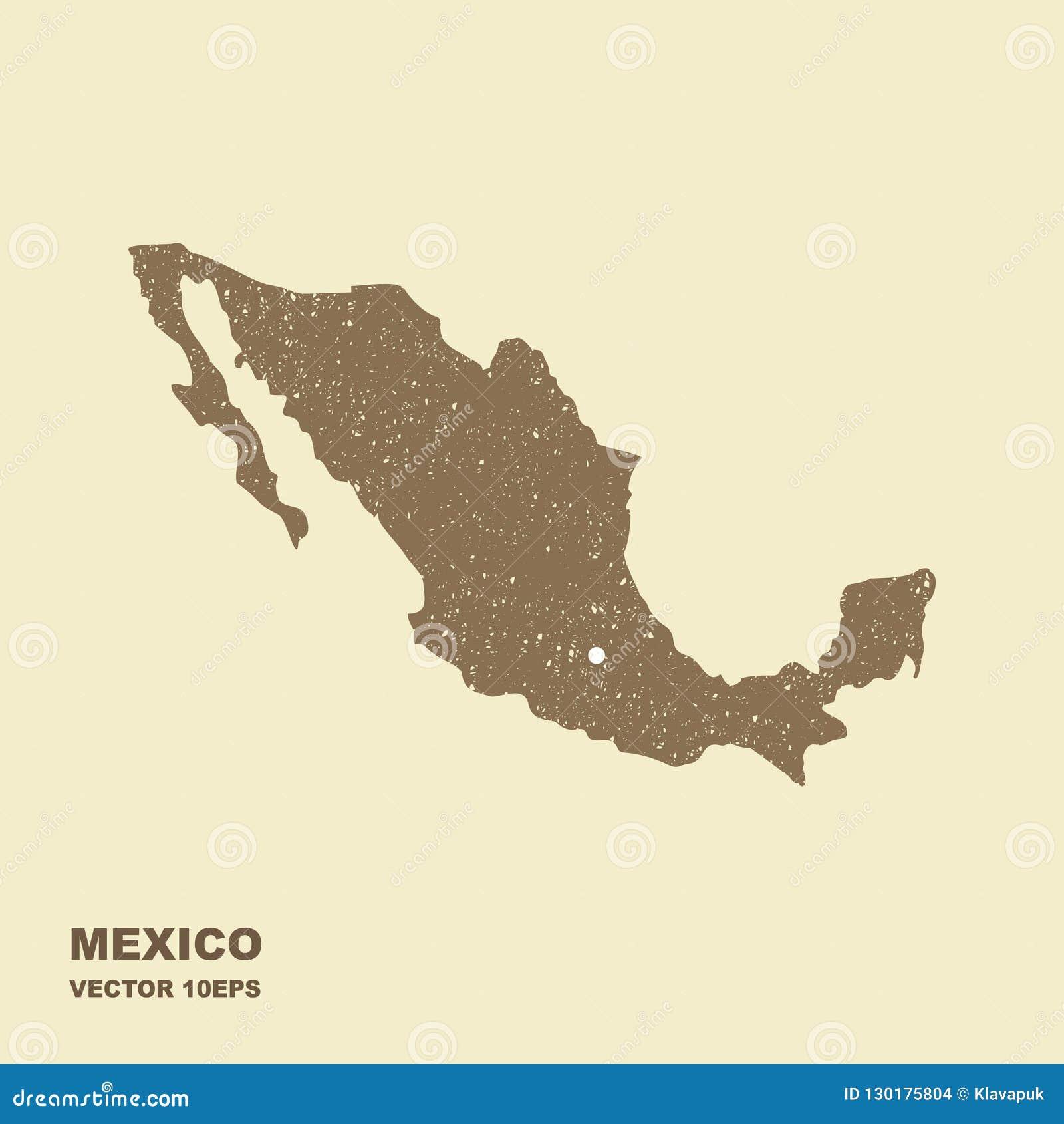 Κενός γκρίζος παρόμοιος χάρτης του Μεξικού με τη γρατζουνισμένη επίδραση