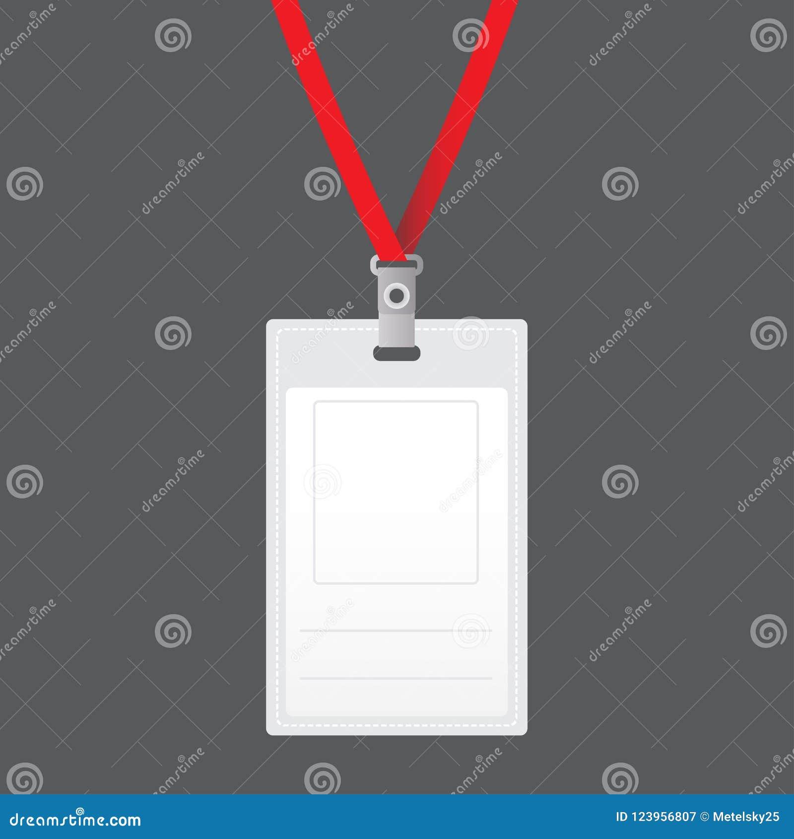 Κενός διανυσματικός κάθετος κάτοχος διακριτικών με τη φωτεινή ελαφριά δαντέλλα Απομονωμένος στο γκρίζο υπόβαθρο για το σχέδιο και