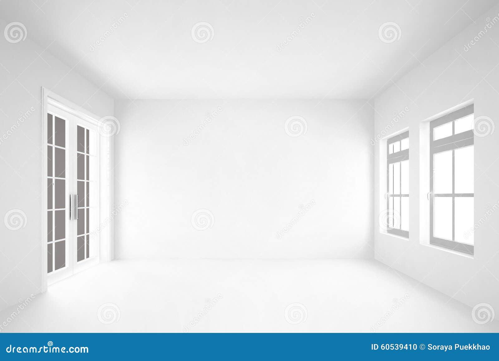 κενό άσπρο δωμάτιο με το εσωτερικό υπόβαθρο door&windows